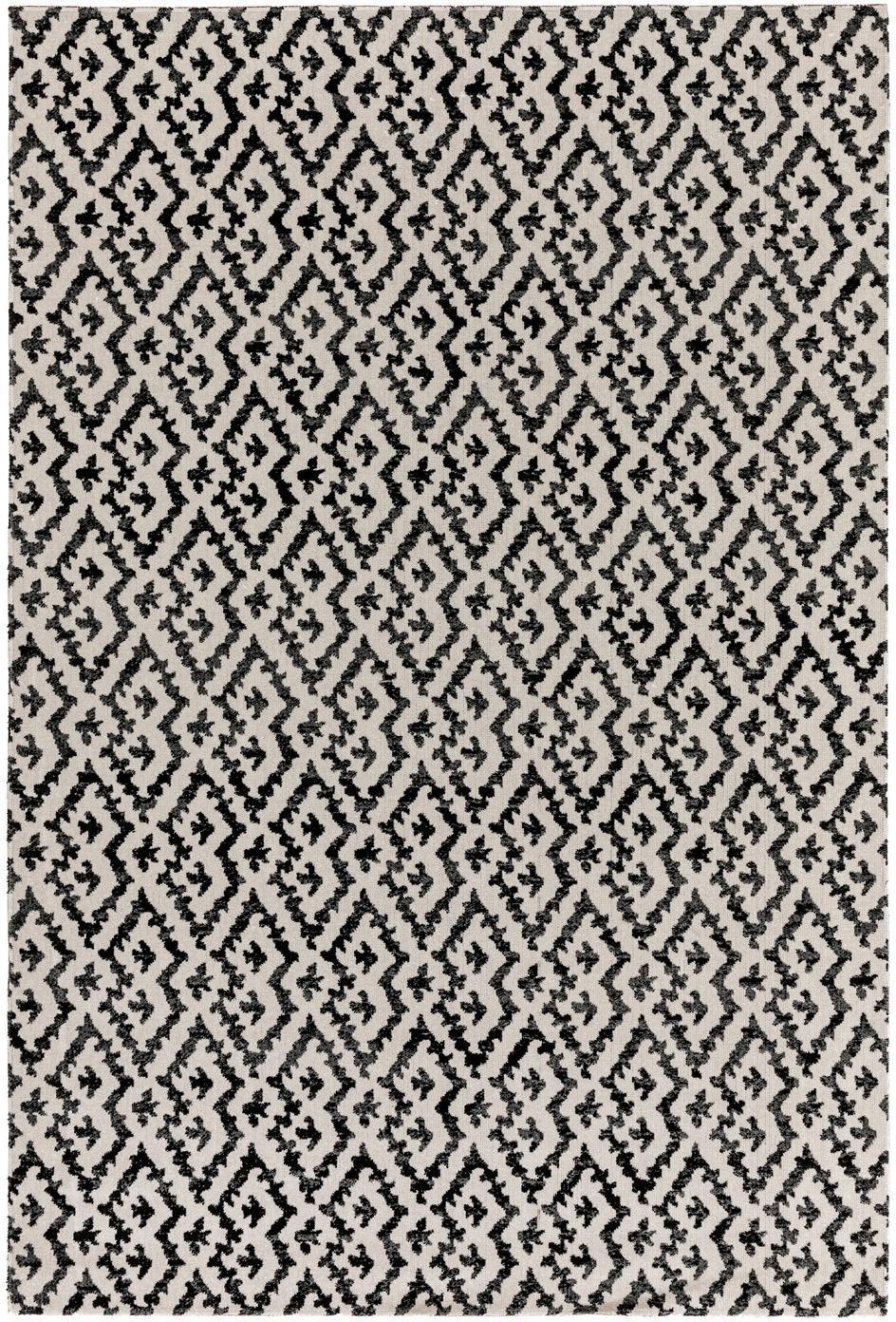 Alfombra de interior/exterior Jerry, estilo étnico, 100%polipropileno, Negro, blanco, An 80 x L 150 cm (Tamaño XS)