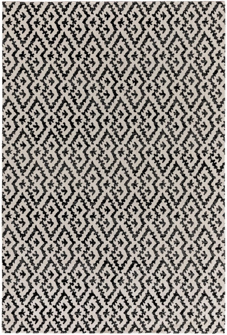 Tappeto etnico da interno-esterno Jerry, 100% polipropilene, Nero, bianco, Larg. 80 x Lung. 150 cm (taglia XS)