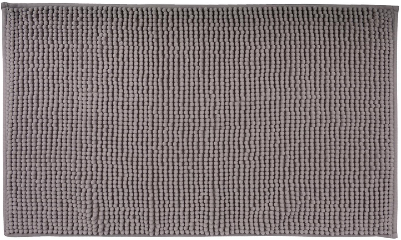Badvorleger Johanna mit kleinen Stoffkugeln, 100% Polyester, Grau, 45 x 75 cm