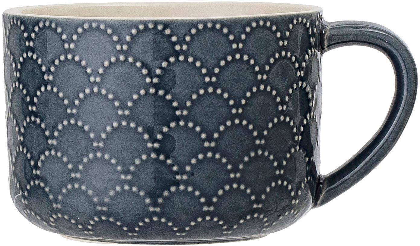 Gemusterte Tassen Naomi in Dunkelblau, 4 Stück, Steingut, Blau, Weiss, Ø 10 x H 7 cm
