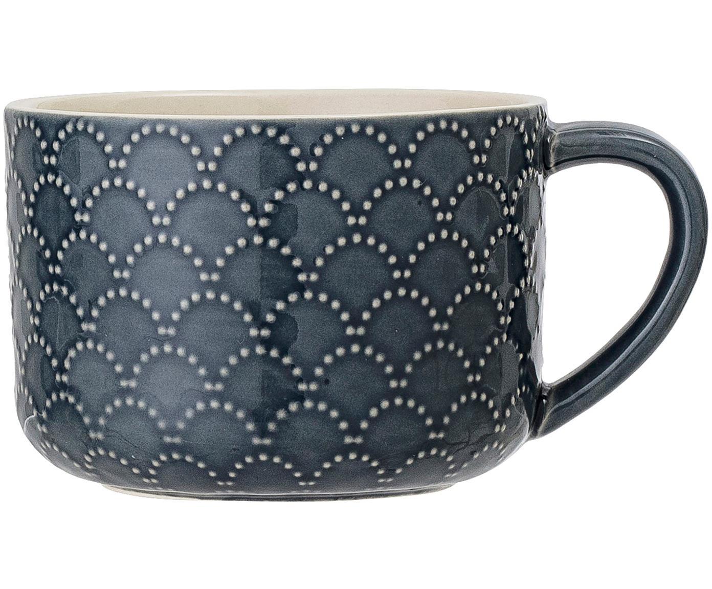 Tassen Naomie, 4 Stück, Steingut, Blau, Weiss, Ø 10 x H 7 cm