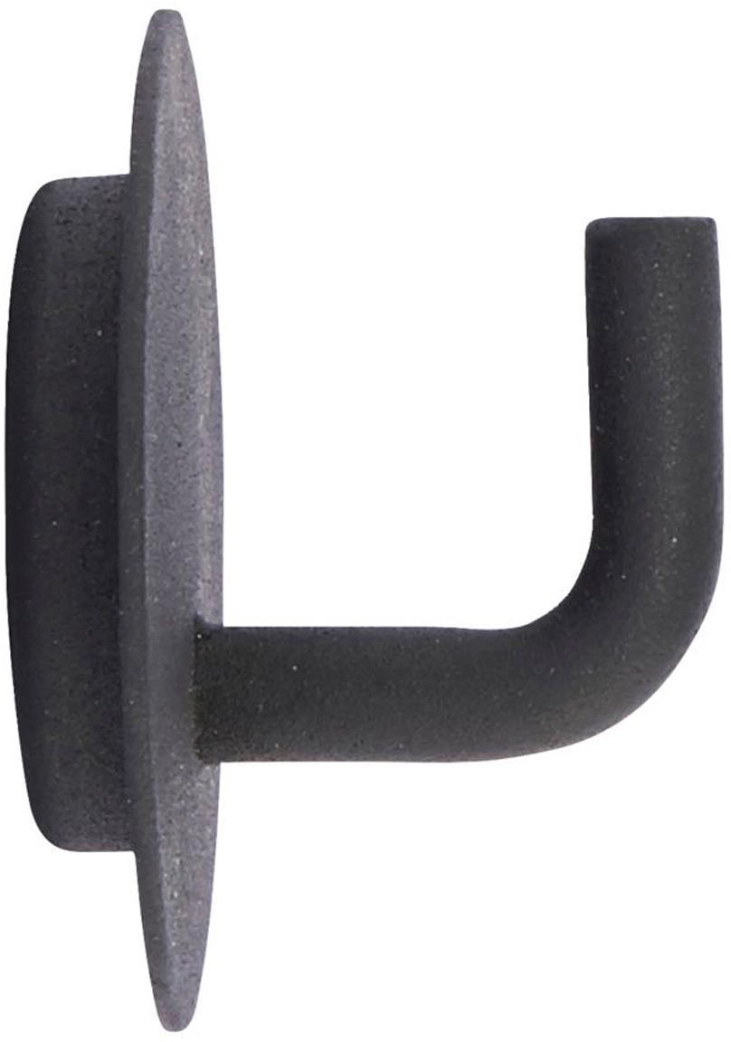 Gancio appendiabiti nero Lema 2 pz, Alluminio rivestito, Nero, Ø 4 x Prof. 3 cm