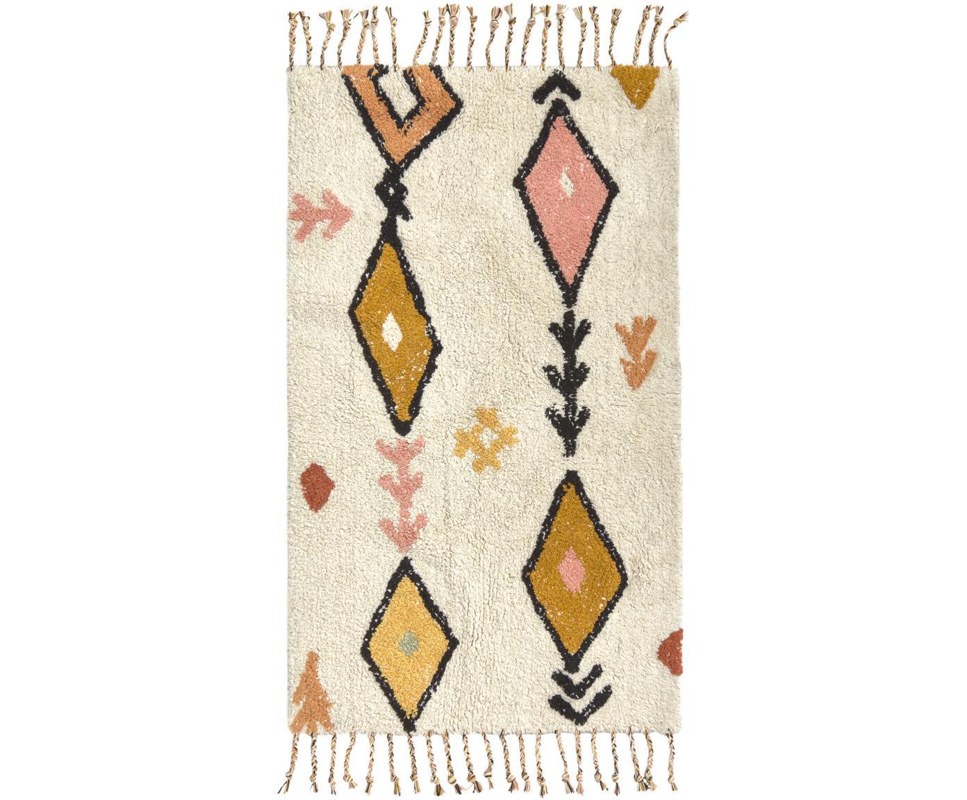 Teppich Bereber mit Ethno-Muster und Fransen, 100% Baumwolle, Cremefarben, Mehrfarbig, B 60 x L 90 cm (Größe XXS)