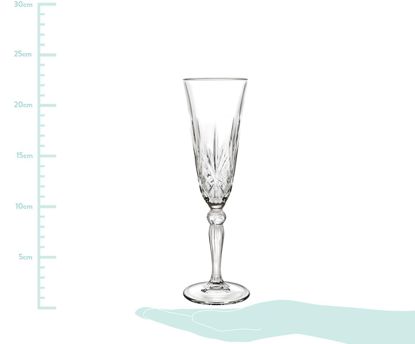 Kristall-Sektgläser Melodia mit Reliefmuster, 6er-Set, Kristallglas, Transparent, Ø 7 x H 22 cm