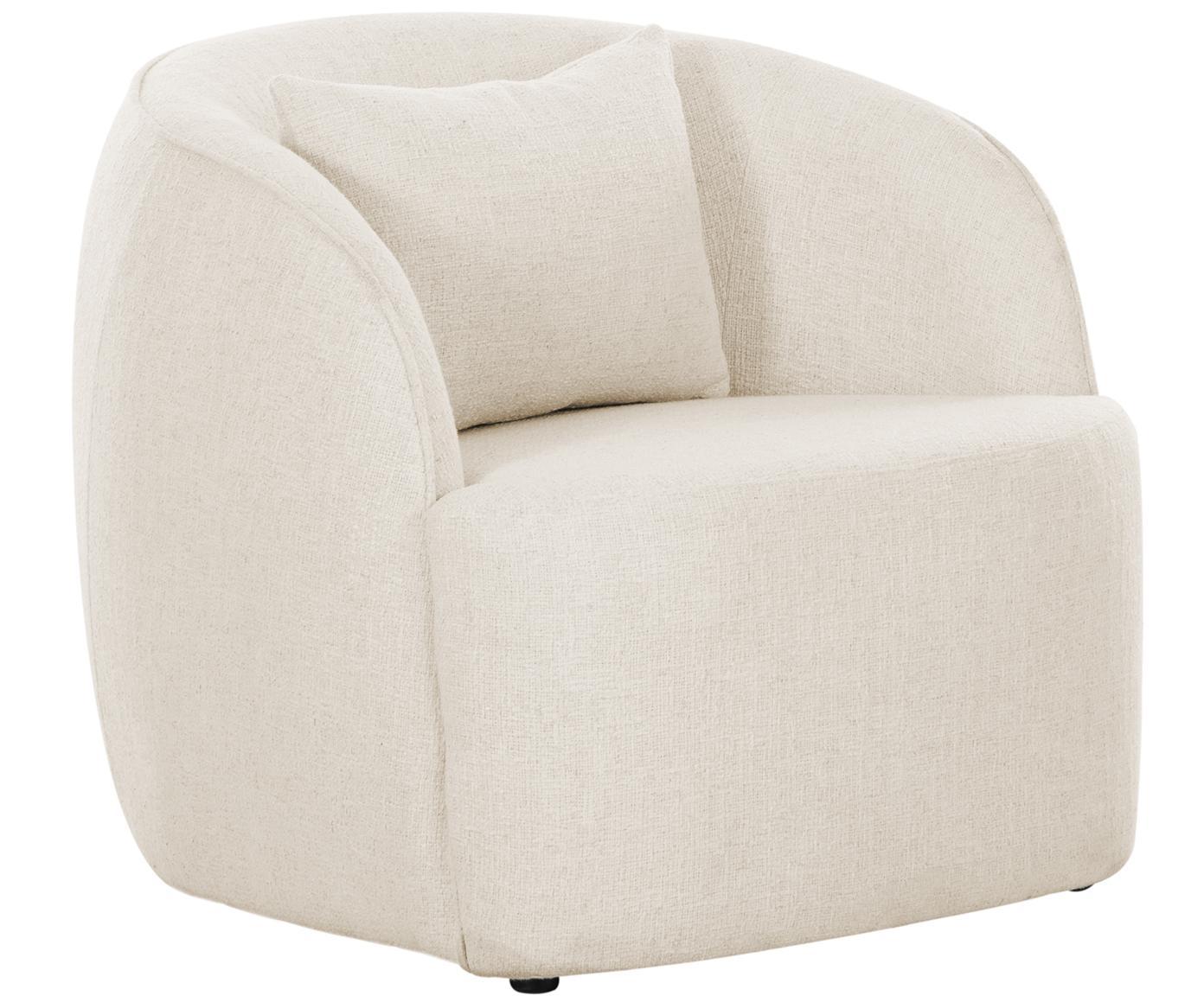 Bouclé fauteuil Elodie, Bekleding: bouclé (70% polyester, 20, Frame: massief berkenhout, metaa, Poten: kunststof, Crèmewit, B 86 x D 62 cm