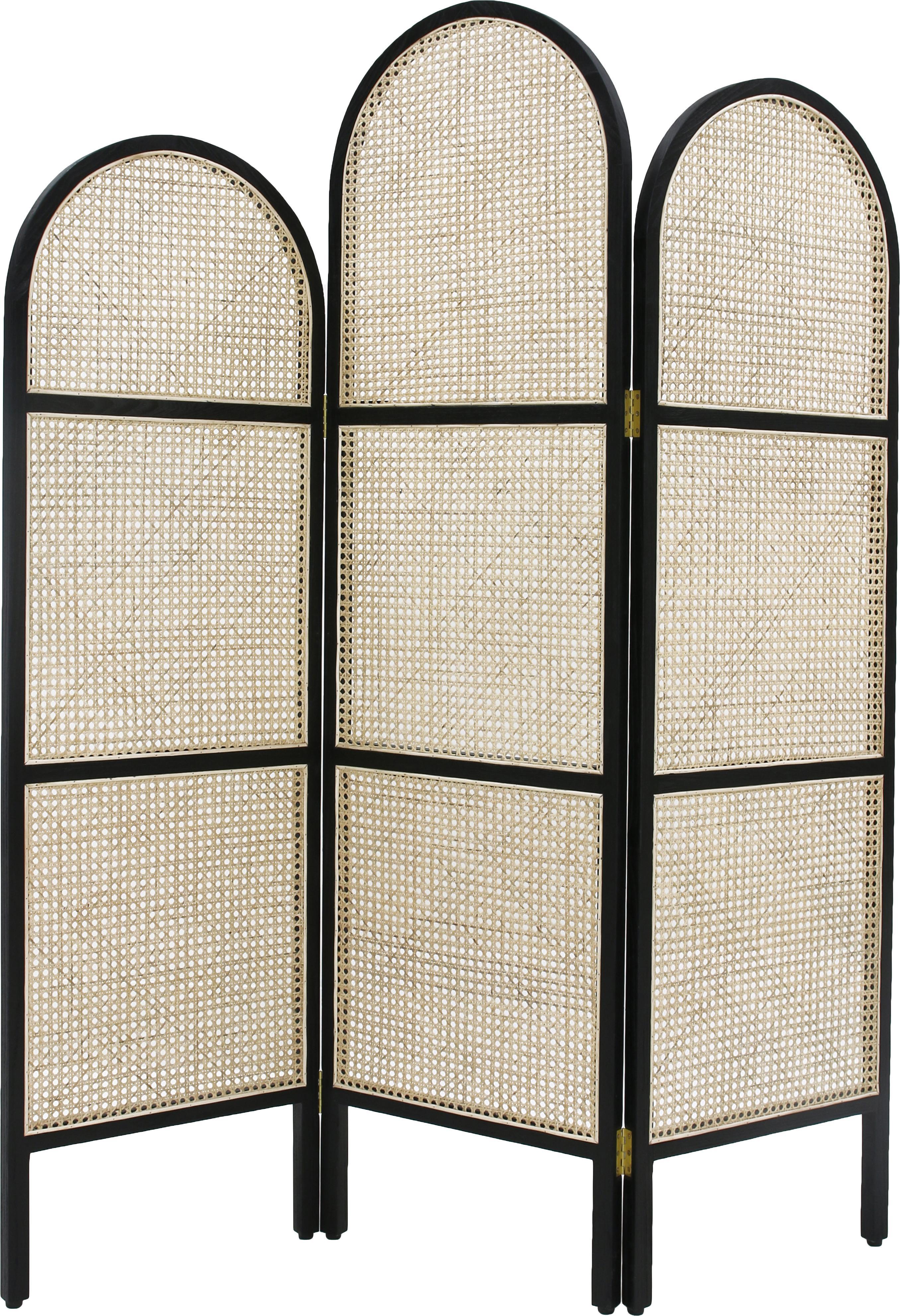 Paravent Webbing, Rahmen: Sungkai Holz, Wiener Geflecht: Zuckerrohr, Schwarz, 150 x 180 cm