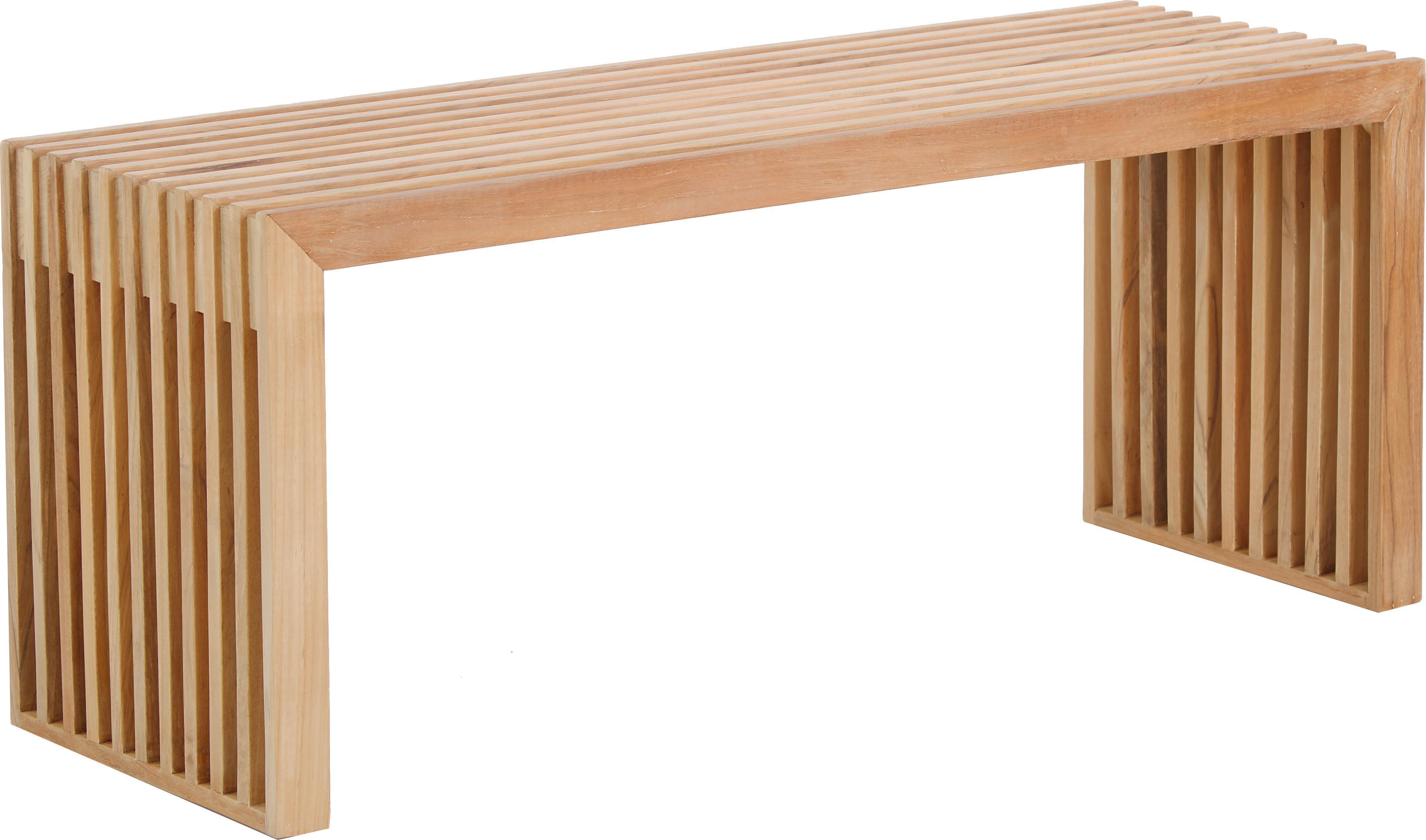 Moderne Teakholz-Bank Rib, Teakholz, Teak, 104 x 43 cm