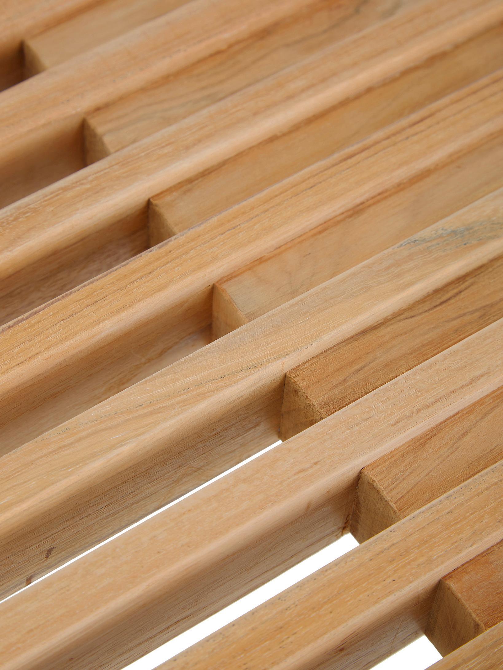 Ławka z drewna tekowego Rib, Drewno tekowe, Drewno tekowe, S 104 x W 43 cm