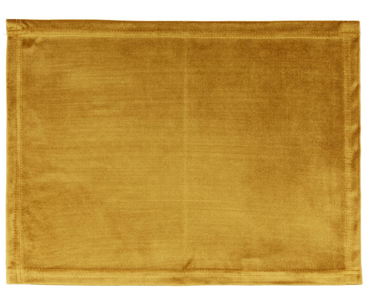 Samt-Tischsets Simone, 2 Stück, Polyestersamt, Senfgelb, 35 x 45 cm