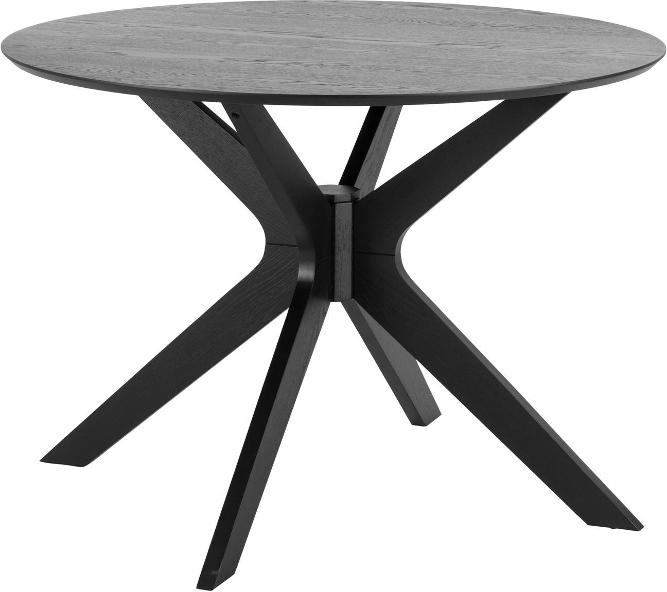 Mesa de comedor redonda Duncan aus roble, Tablero: fibras de densidad media , Negro, Ø 20 cm