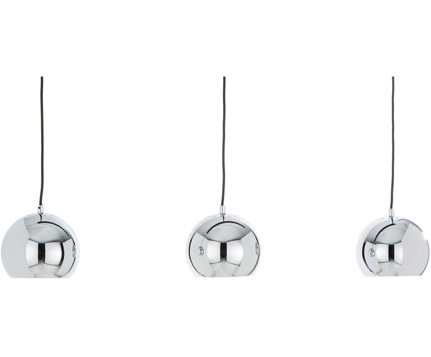 Hanglamp  met bollen Ball in zilverkleur, Baldakijn: gelakt metaal, Chroomkleurig, hoogglans, zwart, mat, 100 x 168 cm