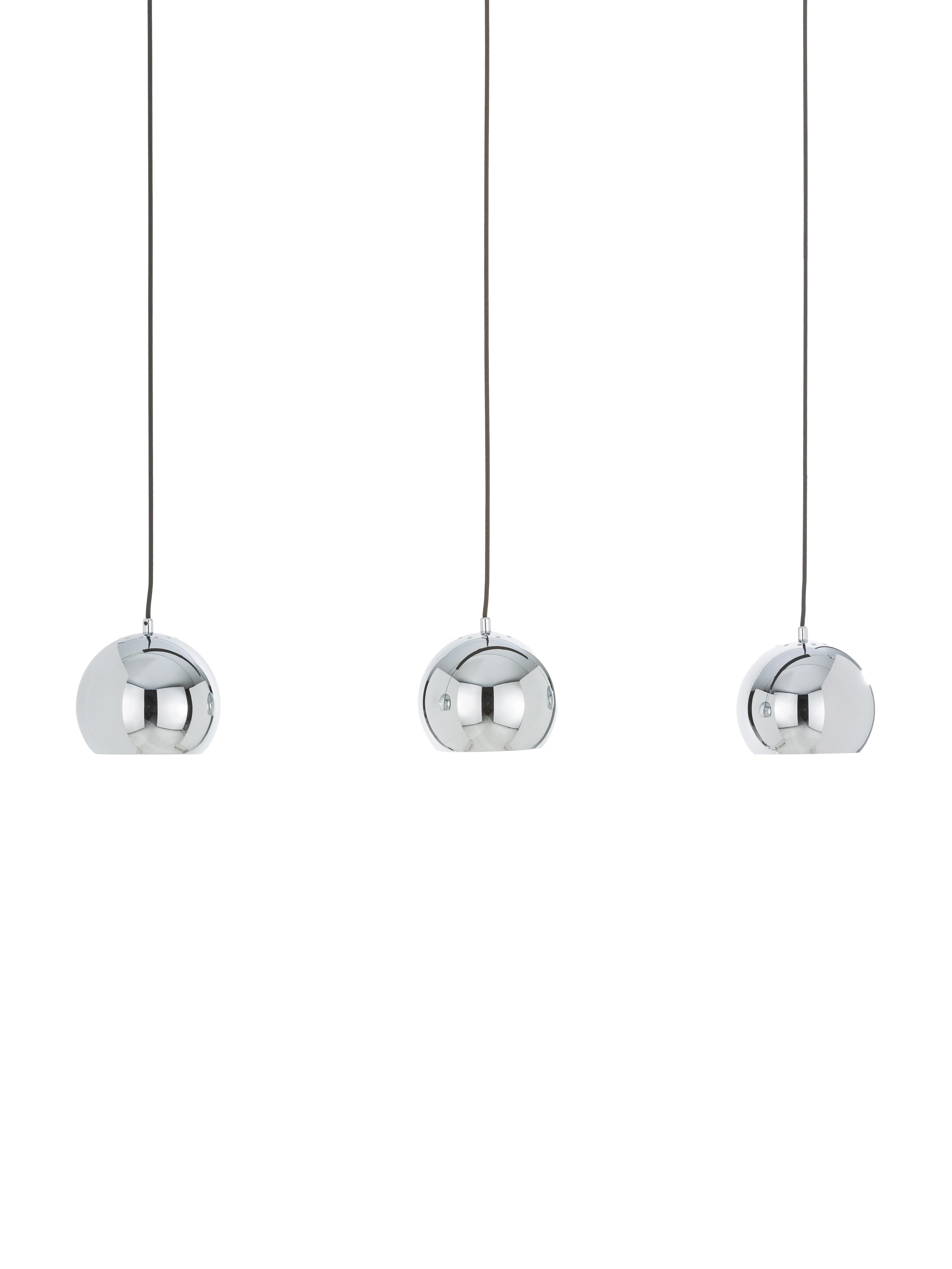 Lampada a sospensione a sfera in argento Ball, Baldacchino: metallo verniciato, Paralume: metallo cromato, Cromo luccicante, nero opaco, Larg. 100 x Alt. 168 cm