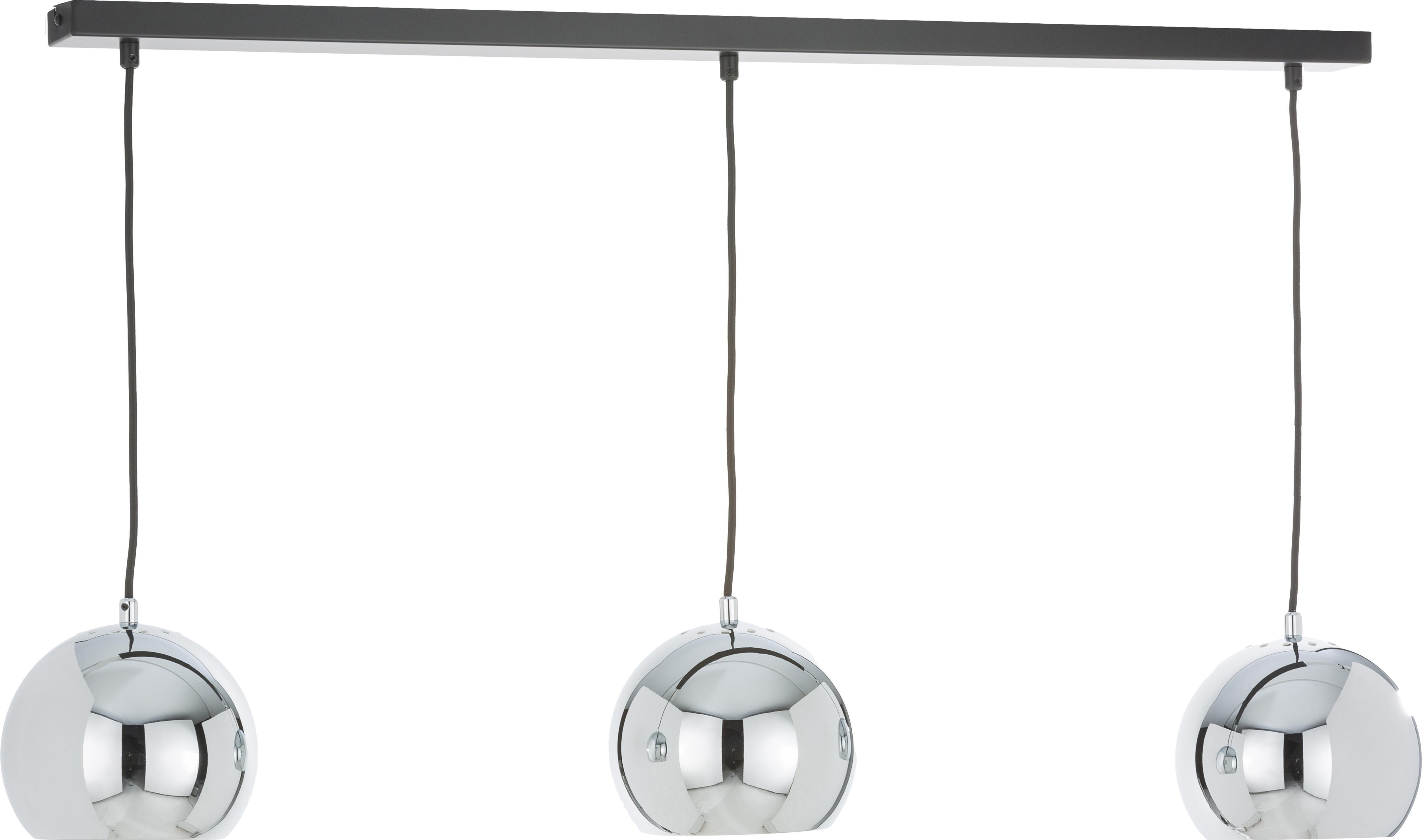 Kugel-Pendelleuchte Ball in Silber, Baldachin: Metall, lackiert, Chrom, hochglanz, Schwarz, matt, 100 x 168 cm