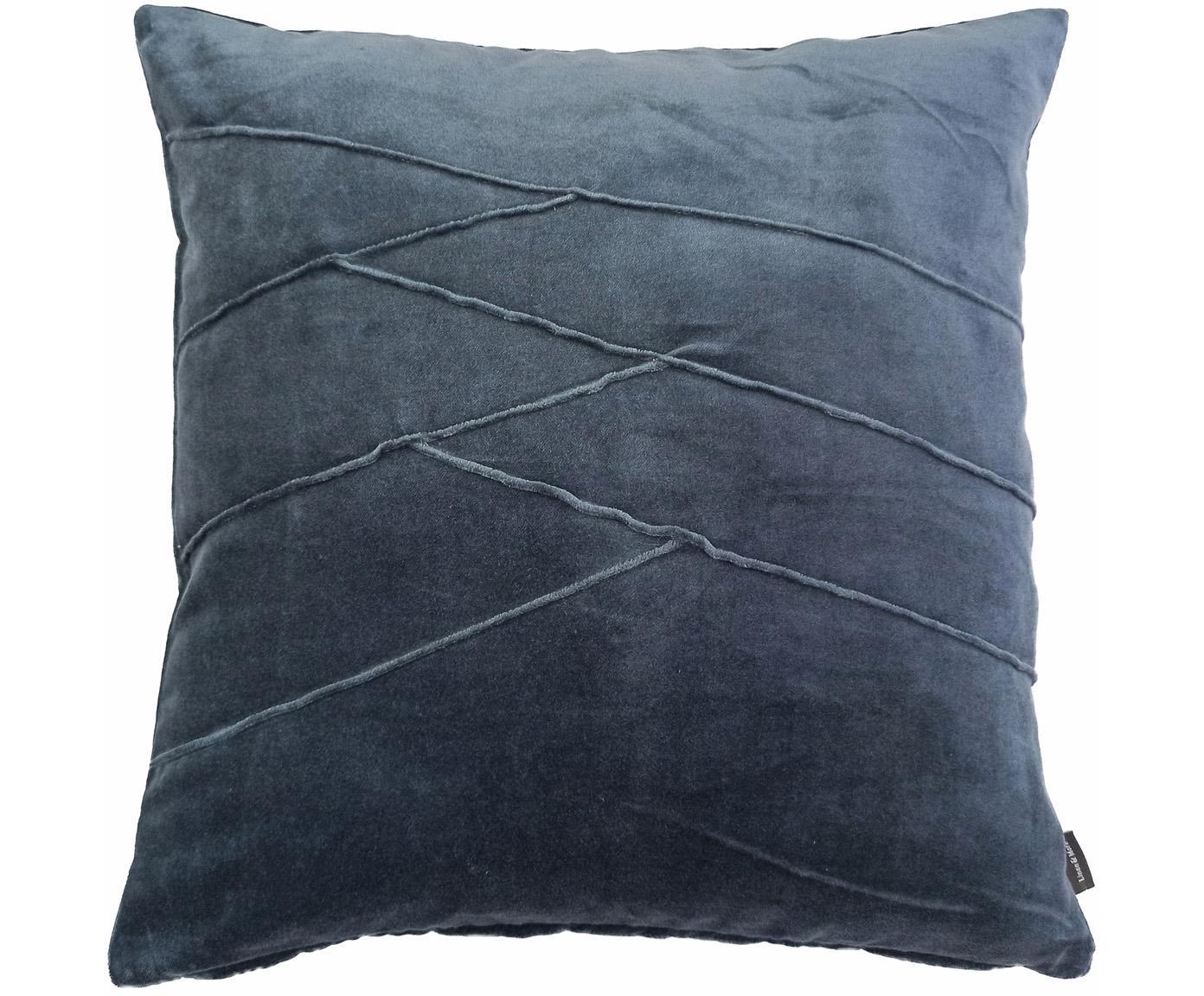 Samt-Kissen Pintuck in Blau mit erhabenem Strukturmuster, mit Inlett, Bezug: 55% Rayon, 45% Baumwolle, Webart: Samt, Blau, 45 x 45 cm
