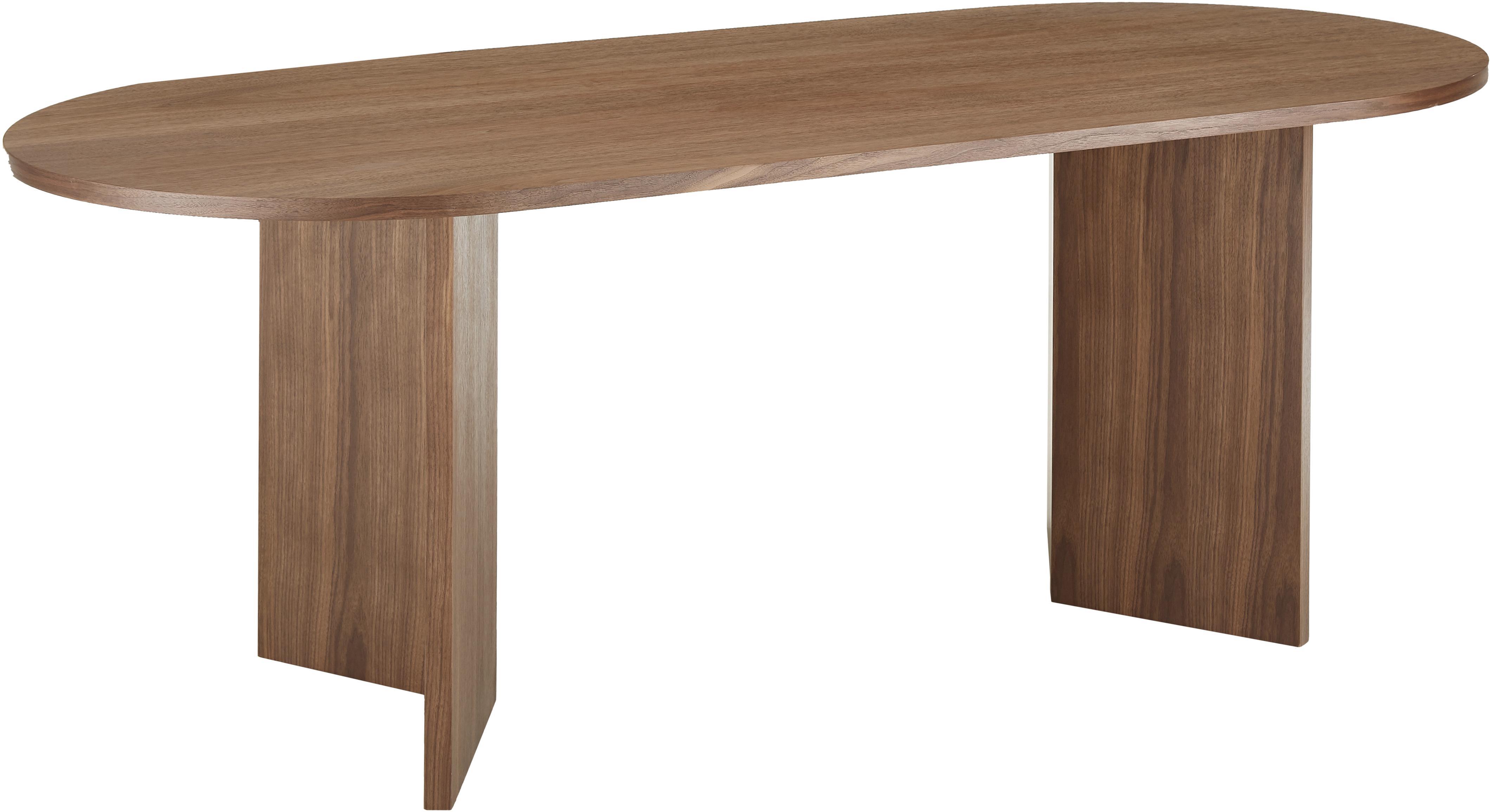 Owalny stół do jadalni z drewna Joni, Płyta pilśniowa średniej gęstości (MDF) z fornirem z drewna orzechowego, lakierowana, Fornir z drewna orzechowego, S 200 x G 90 cm
