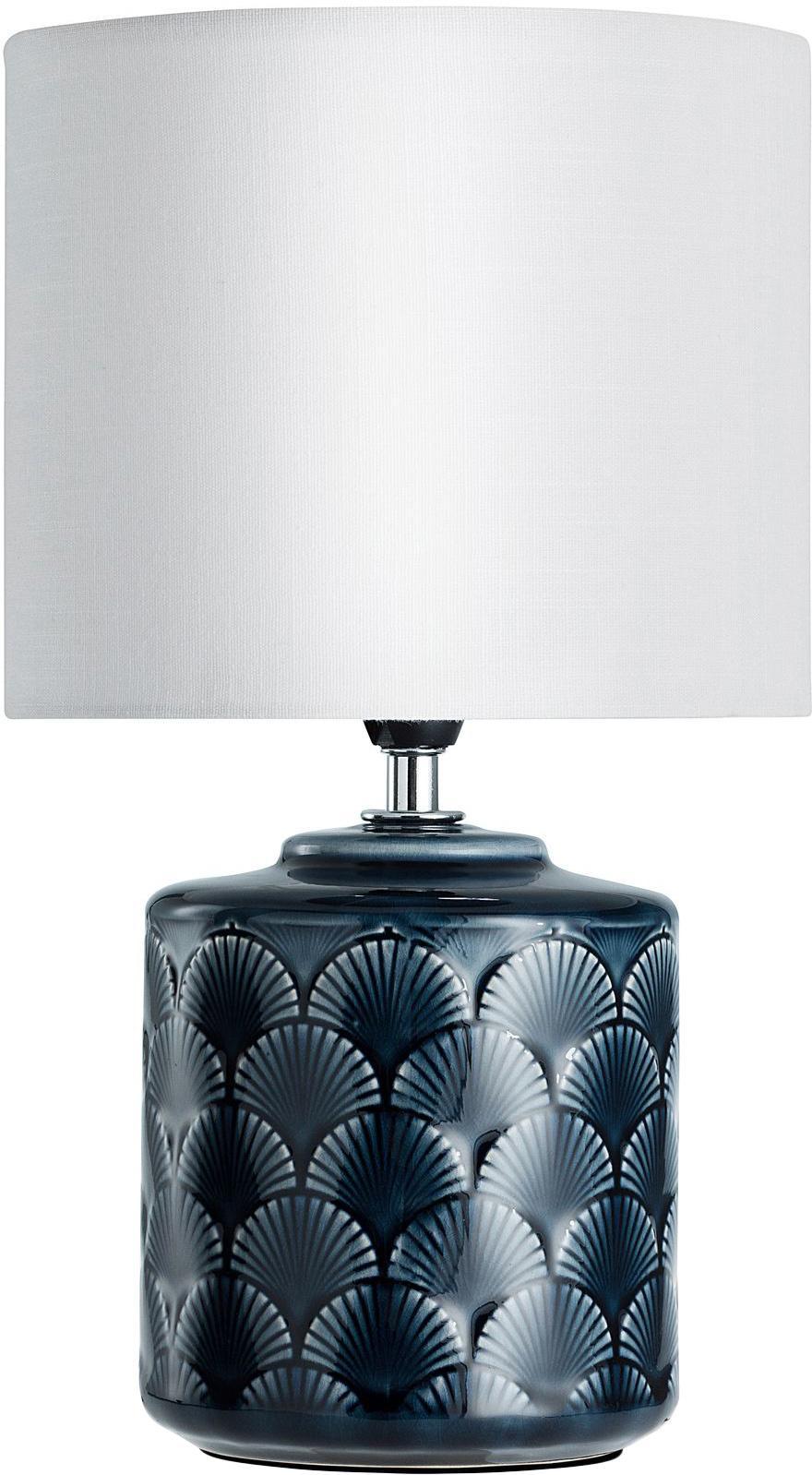 Tischlampe Lola aus Keramik, Lampenschirm: Leinen, Lampenfuß: Keramik, Dunkelblau, Weiß, Ø 18 x H 32 cm
