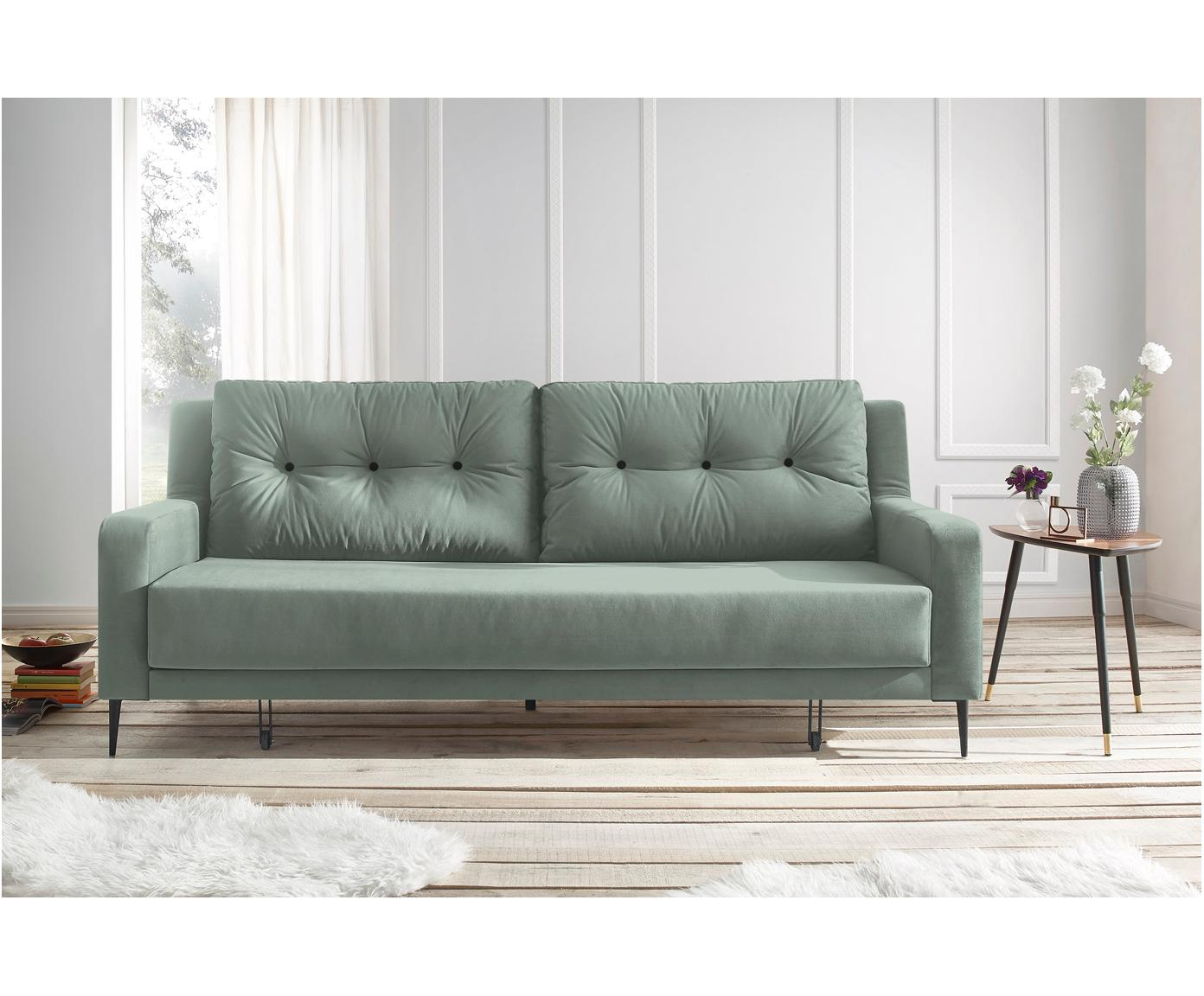 Sofa rozkładana z aksamitu Bergen (3-osobowa), Tapicerka: 100% aksamit poliestrowy, Nogi: metal lakierowany, Zielony miętowy, S 222 x G 92 cm