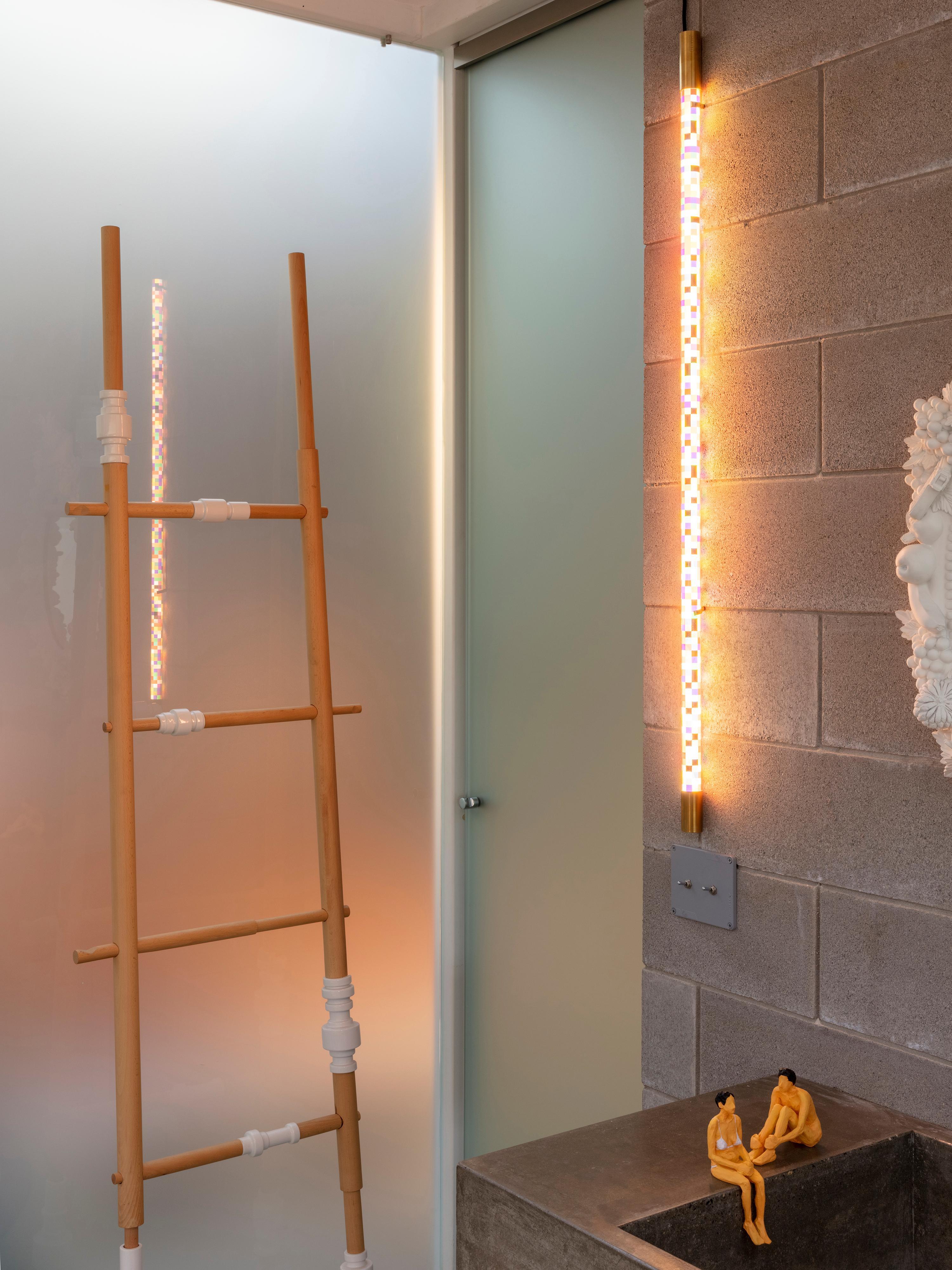 LED-wandlamp Linea Pixled met stekker, Lampenkap: kunststof, Multicolour, L 124 cm