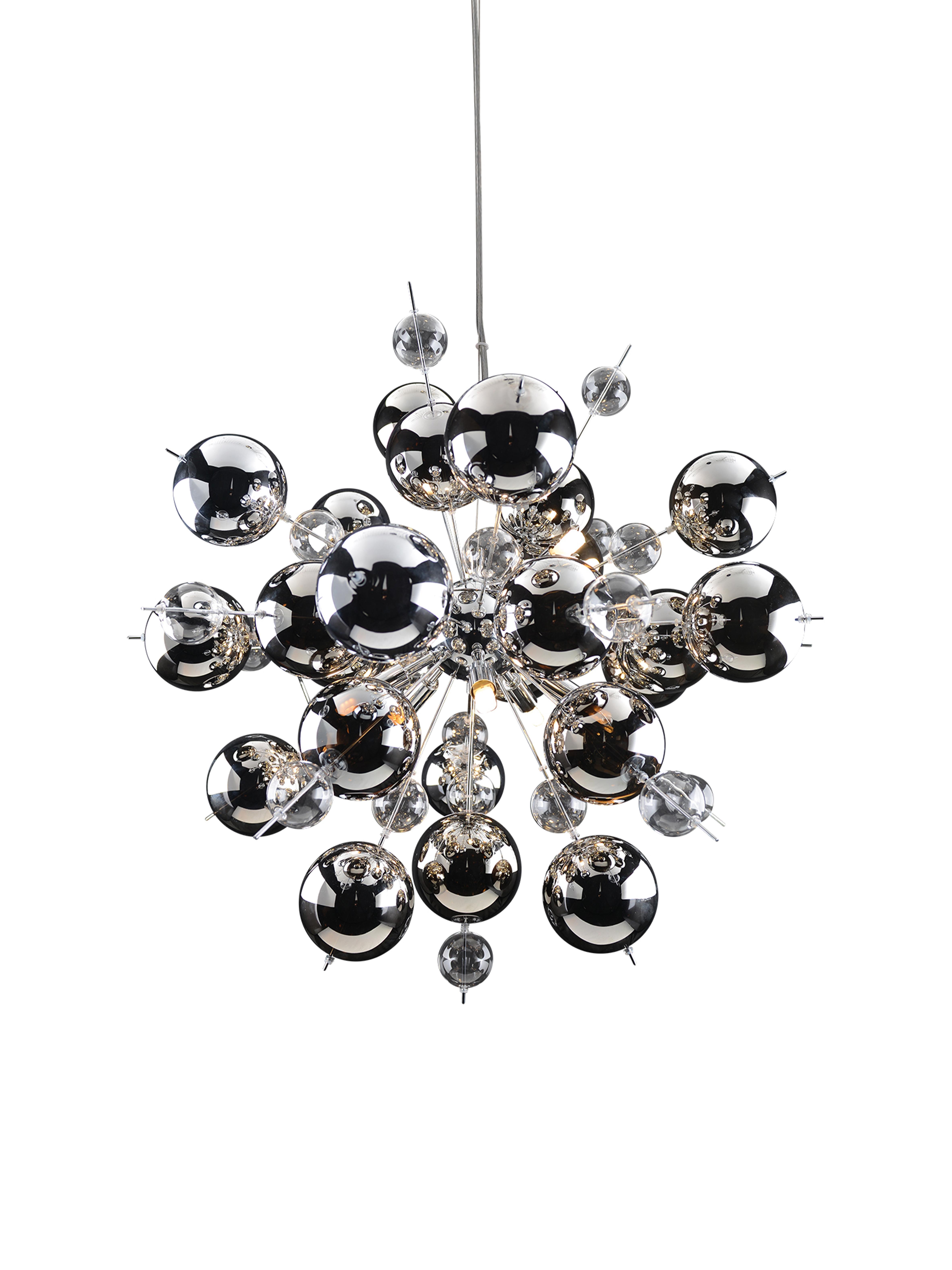 Lampa wisząca ze szklanych kulek Explosion, Chrom, Ø 65 x W 150 cm