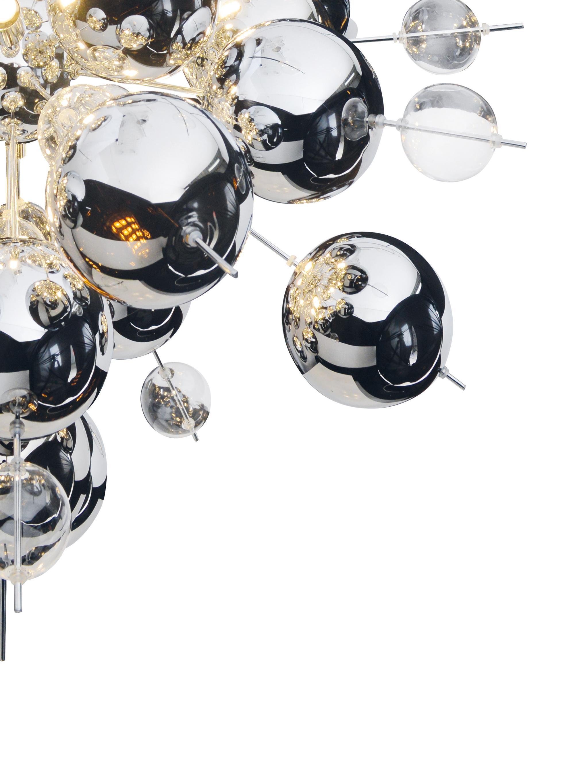 Suspension design boules noires Explosion, Chrome