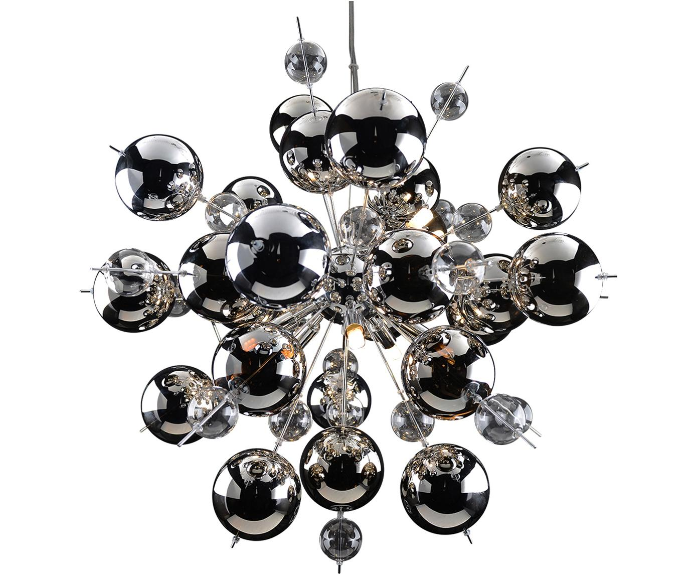 Pendelleuchte Explosion aus Glaskugeln, Baldachin: Metall, verchromt, Chrom, Ø 65 x H 65 cm