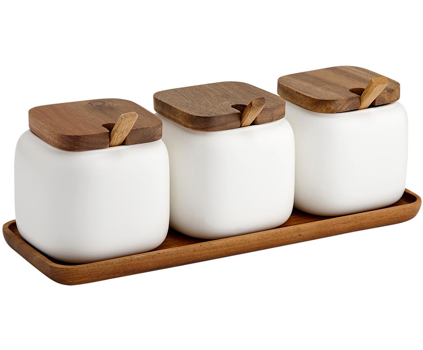 Opbergpottenset Essentials van porselein en acaciahout, 7-delig, Porselein, acaciahout, Wit, acaciahoutkleurig, 28 x 10 cm