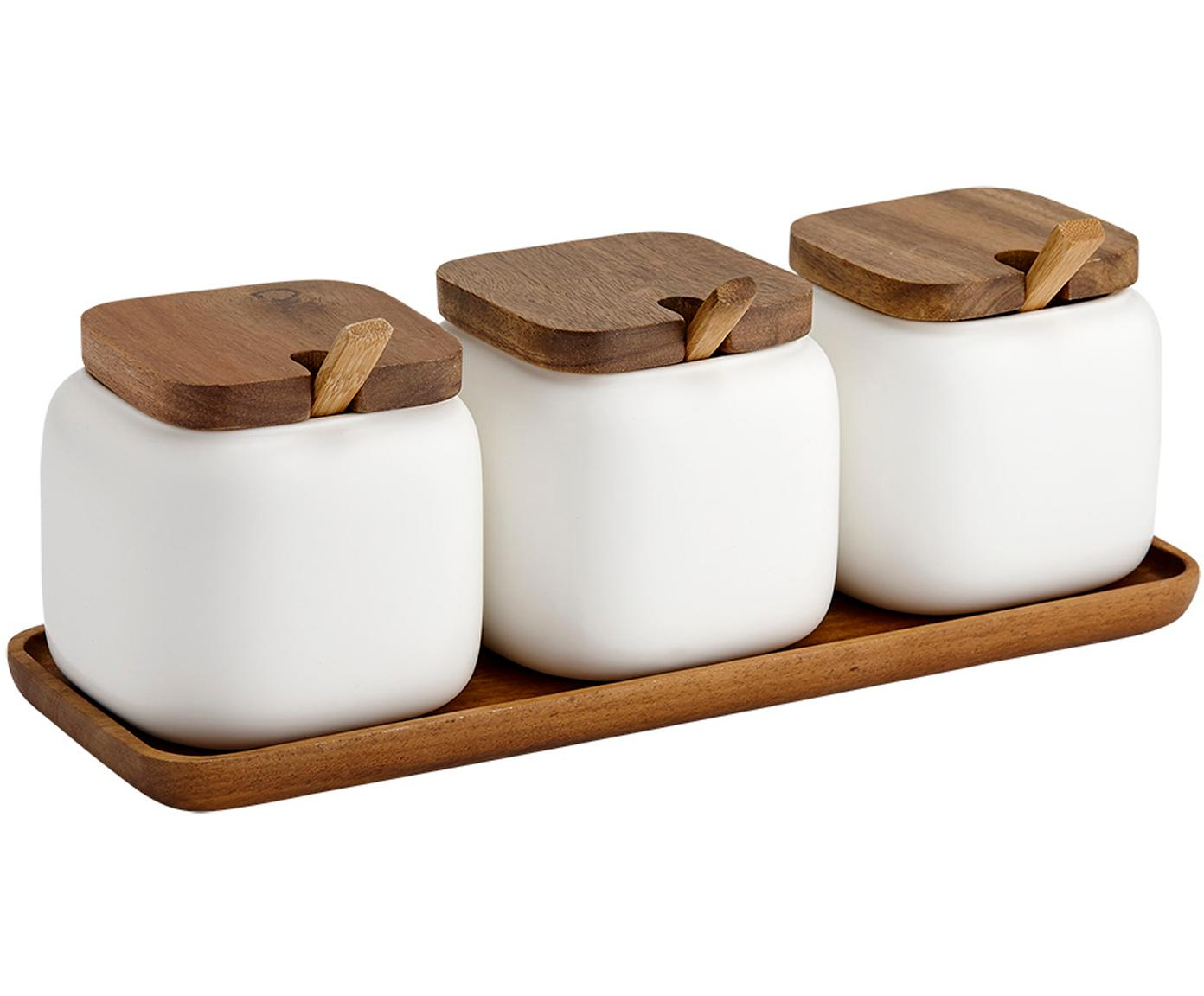Set contenitori in porcellana e legno di acacia Essentials 7 pz, Porcellana, legno d'acacia, Sabbia, legno di acacia, Larg. 28 x Alt. 10 cm