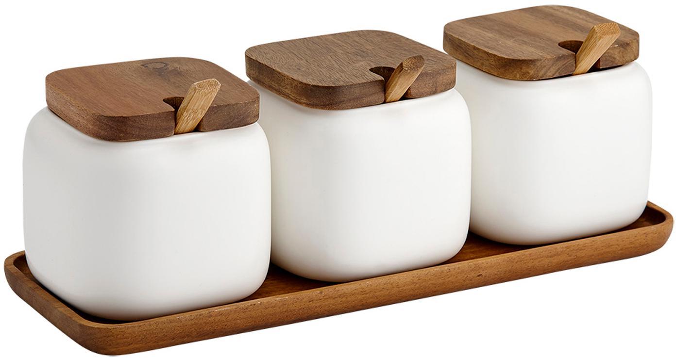 Set de especias Essentials, 7pzas., Blanco, acacia, Set de diferentes tamaños