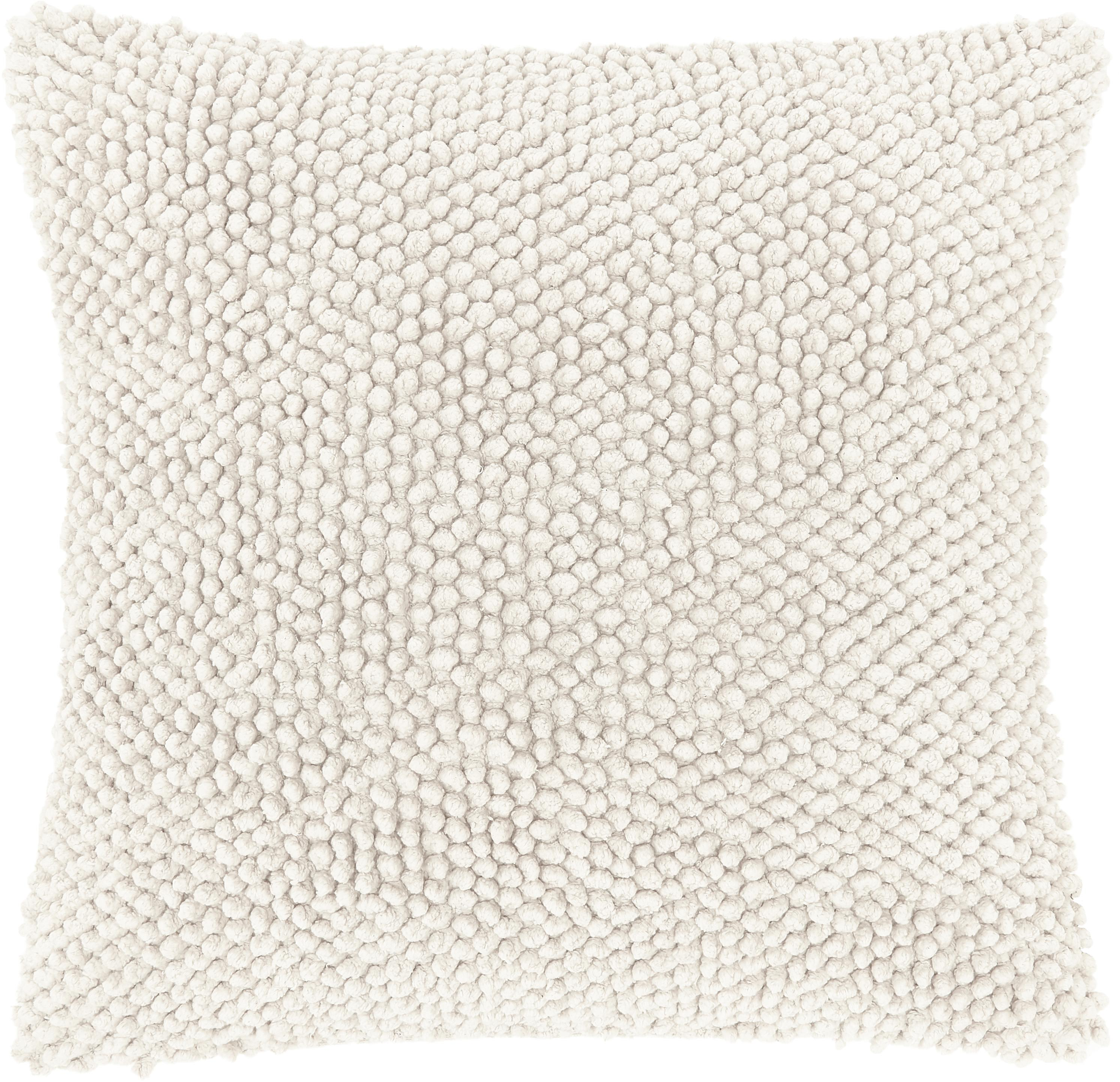 Poszewka na poduszkę z strukturalną powierzchnią Indi, 100% bawełna, Złamana biel, S 45 x D 45 cm
