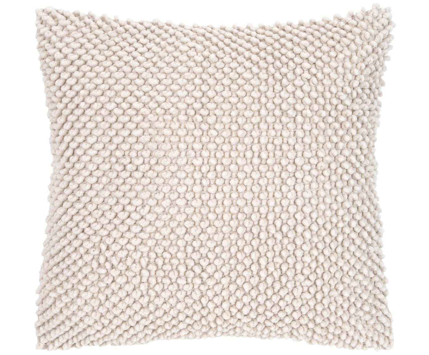Kussenhoes Indi met gestructureerde oppervlak, Katoen, Gebroken wit, 45 x 45 cm