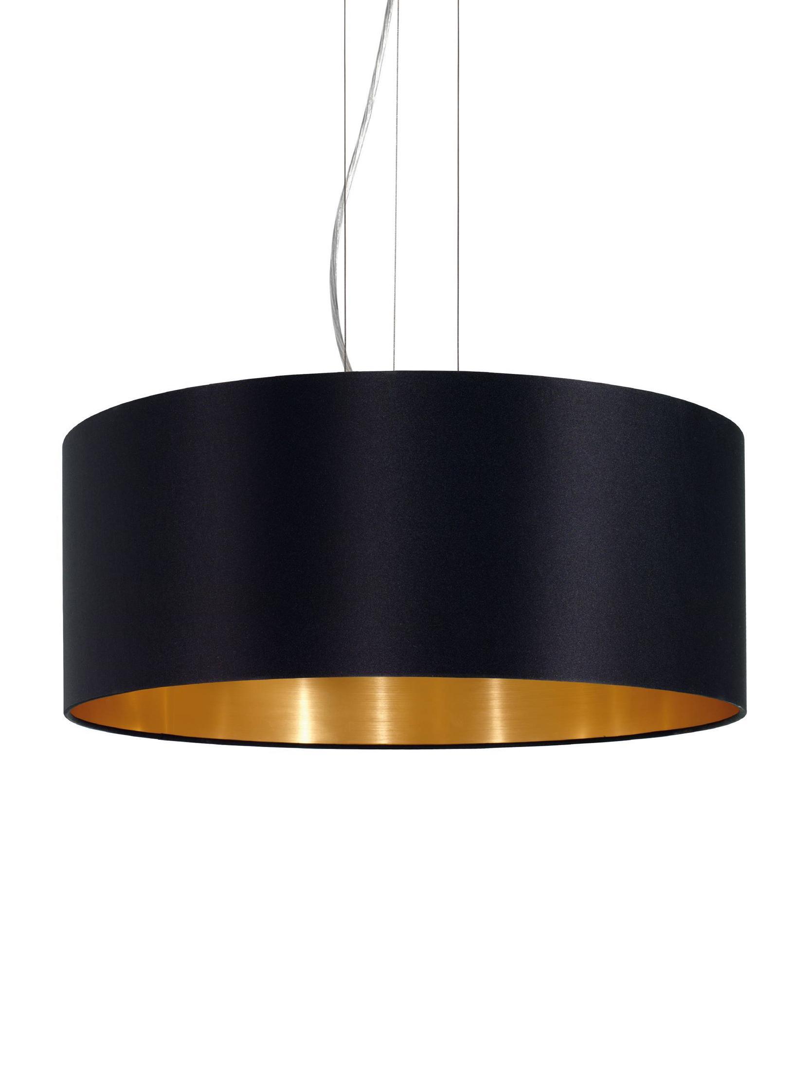 Lámpara de techo Jamie, Anclaje: metal niquelado, Cable: plástico, Plateado, negro, ∅ 53 x Al 24 cm