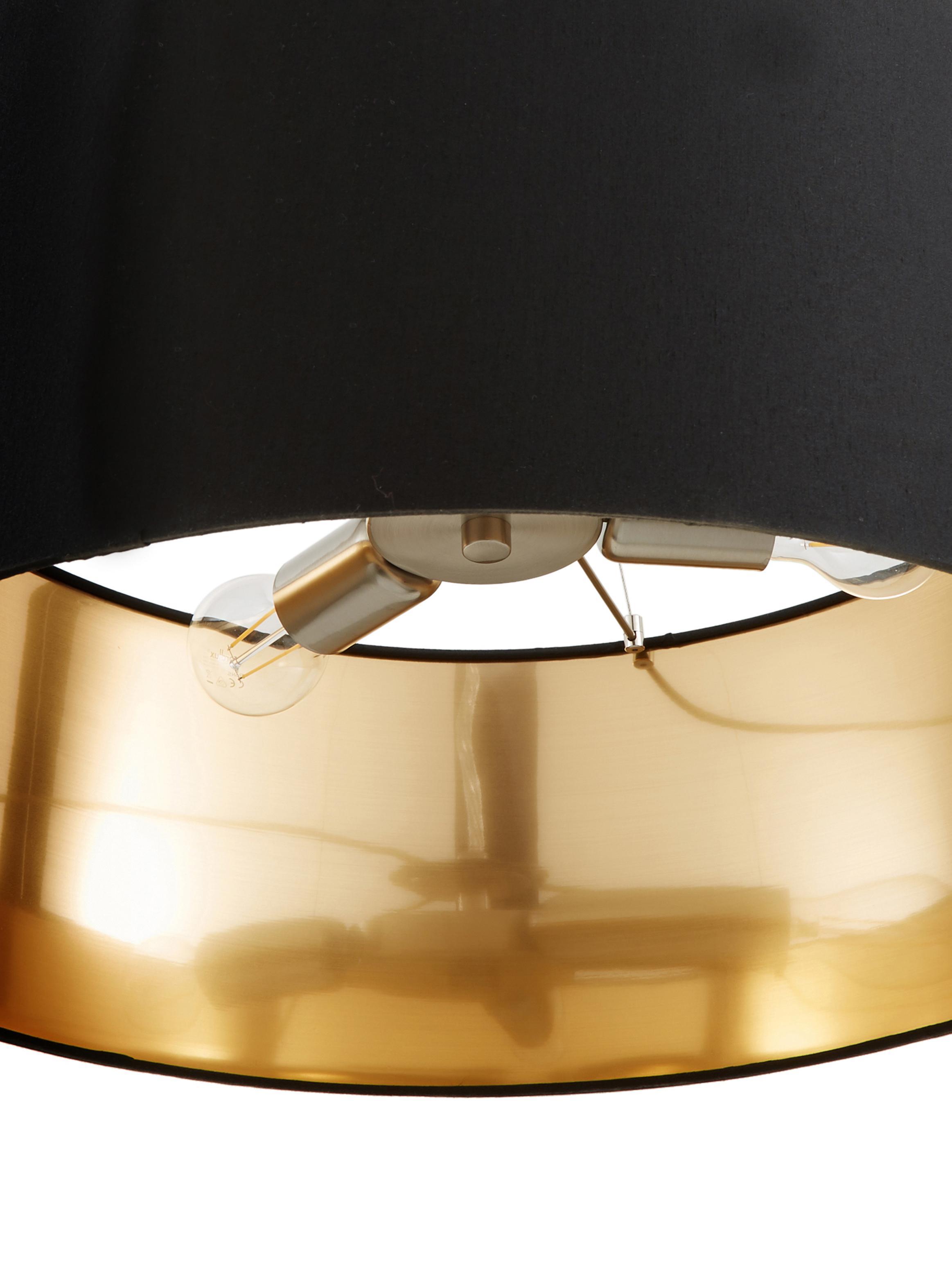 Pendelleuchte Jamie, Baldachin: Metall, vernickelt, Silberfarben,Schwarz, ∅ 53 x H 24 cm