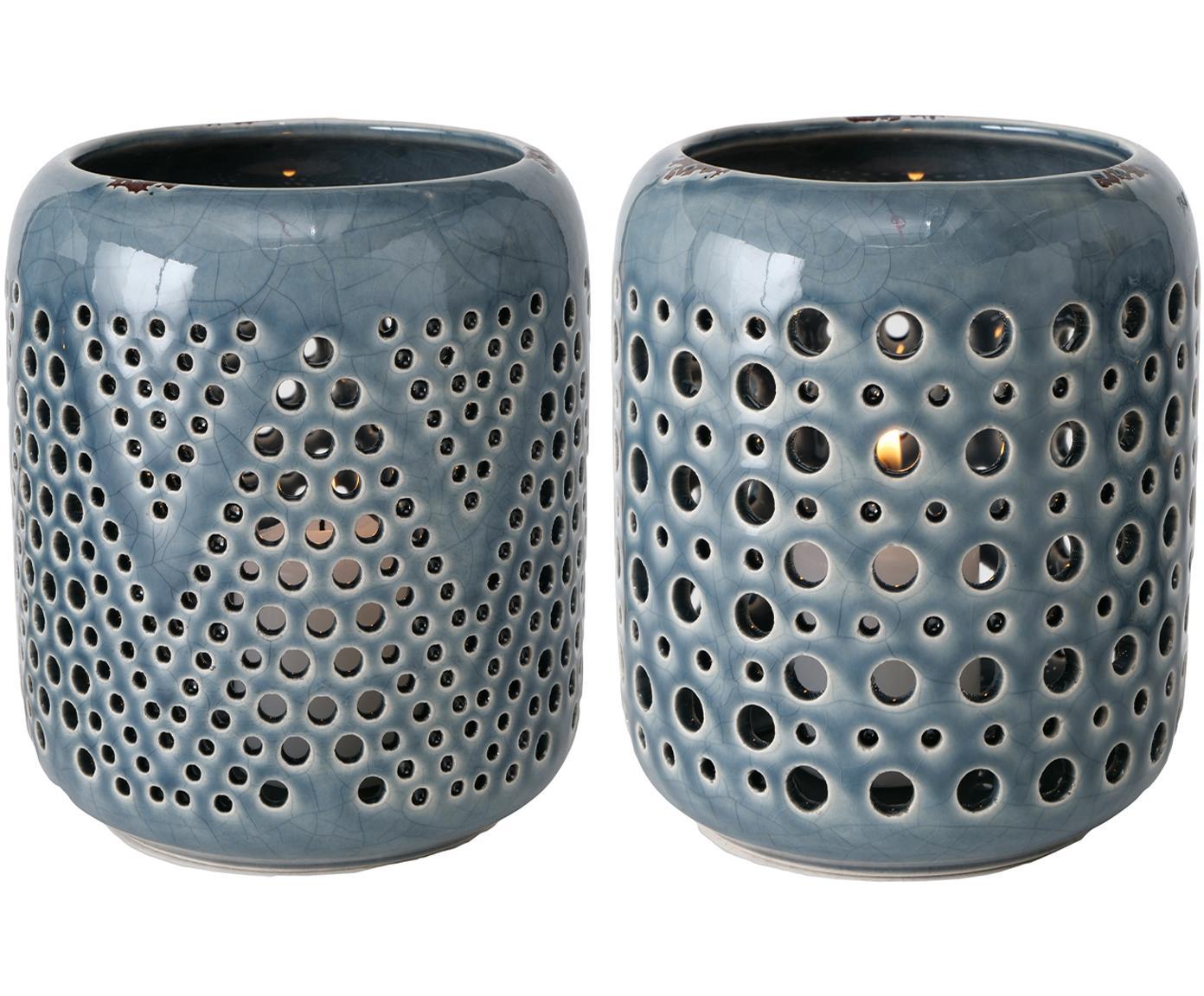 Komplet świeczników Agnar, 2 elem., Kamionka, Niebieski, Ø 12 x W 14 cm