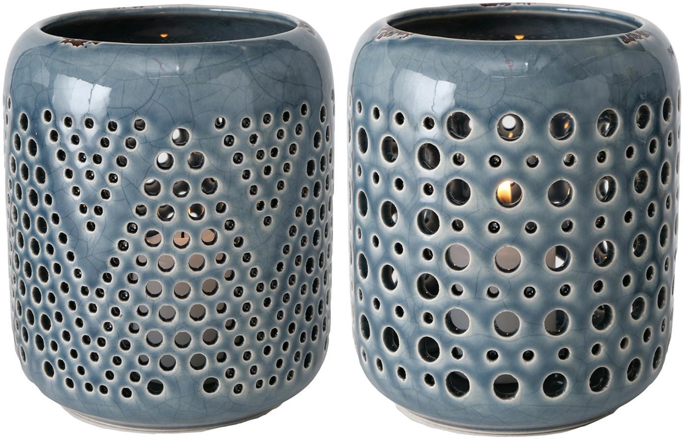 Set de portavelas Agnar, 2pzas., Gres, Azul, Ø 12 x Al 14 cm
