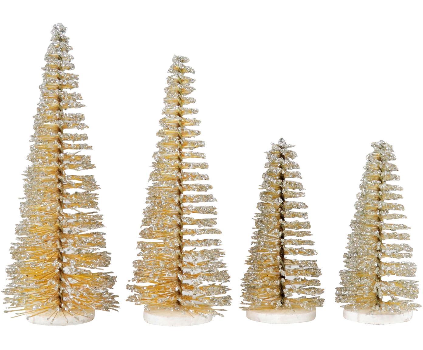 Set de piezas decorativas Glam, 4pzas., Plástico, metal, Dorado, Set de diferentes tamaños