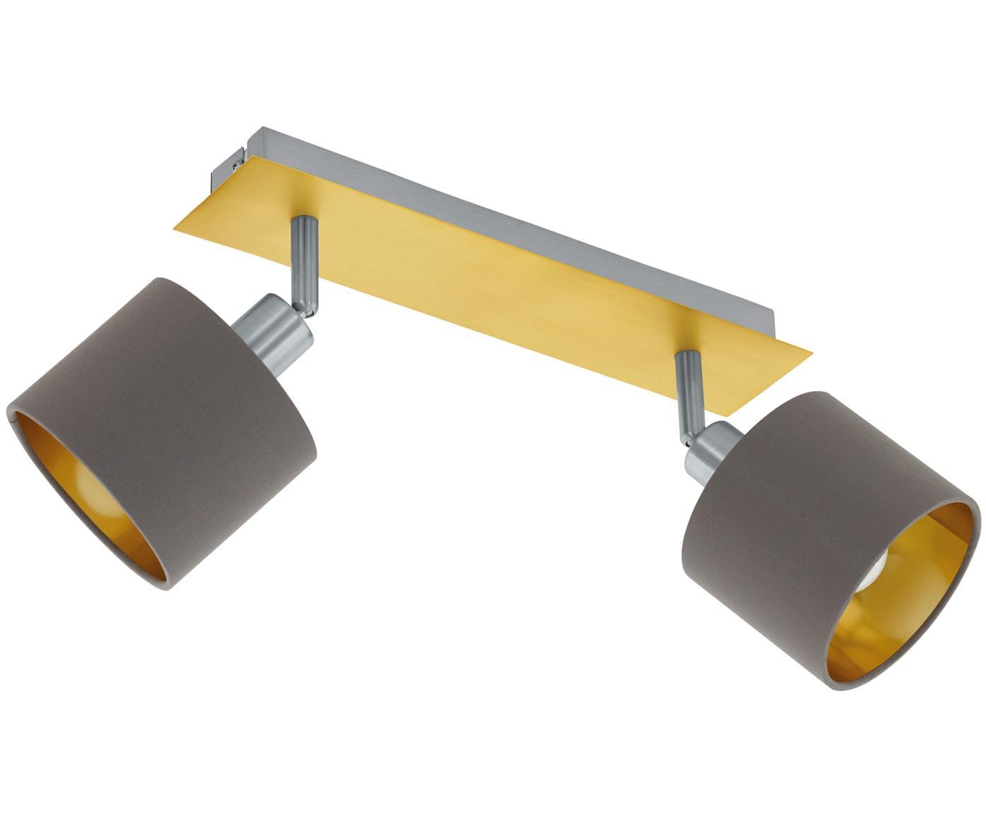 Faretti da soffitto Valbiano, Paralume: poliestere, Baldacchino: acciaio nichelato, ottone, Marrone, dorato, Larg. 32 x Alt. 14 cm