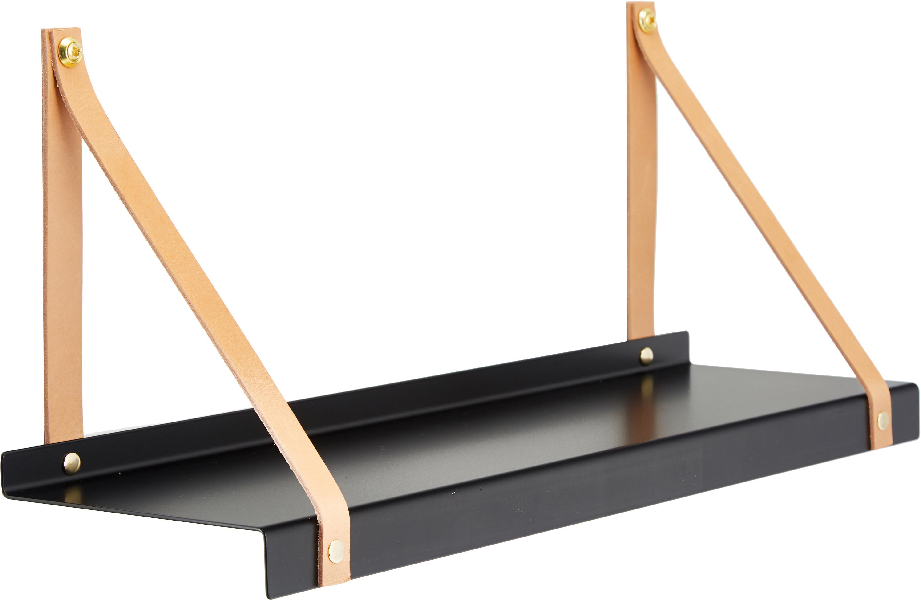 Metall-Wandregal Shelfie mit Lederriemen, Regalbrett: Metall, pulverbeschichtet, Riemen: Leder, Schwarz, Braun, 50 x 23 cm