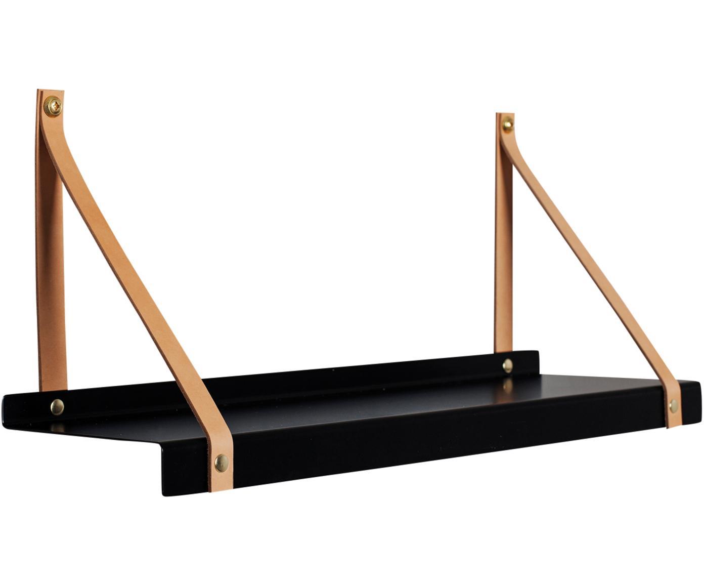 Wandplank Shelfie, Plank: gepoedercoat metaal, Riemen: leer, Zwart, bruin, B 50 x D 15 cm