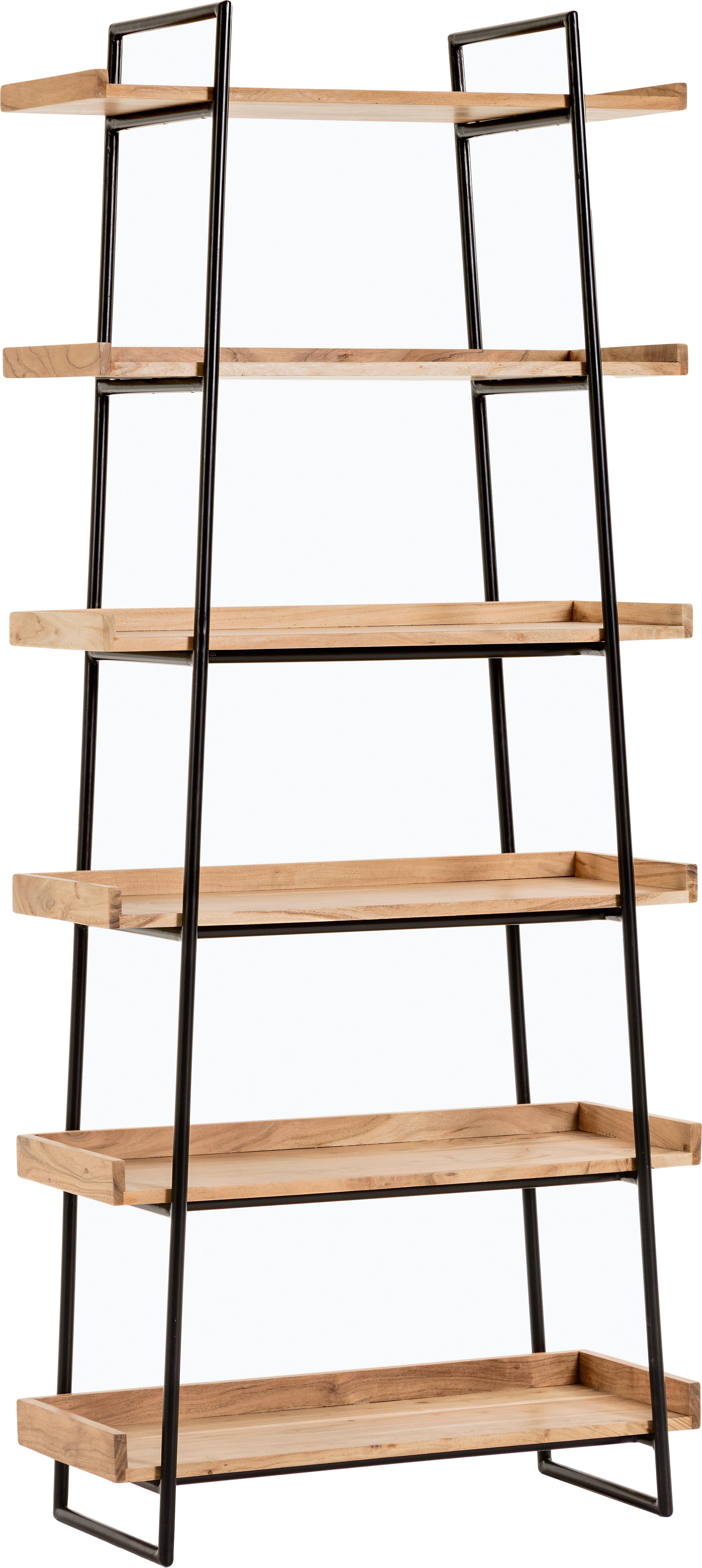Libreria in legno e metallo Basi, Struttura: metallo verniciato, Ripiani: legno d'acacia massiccio, Nero, marrone, Larg. 80 x Alt. 185 cm