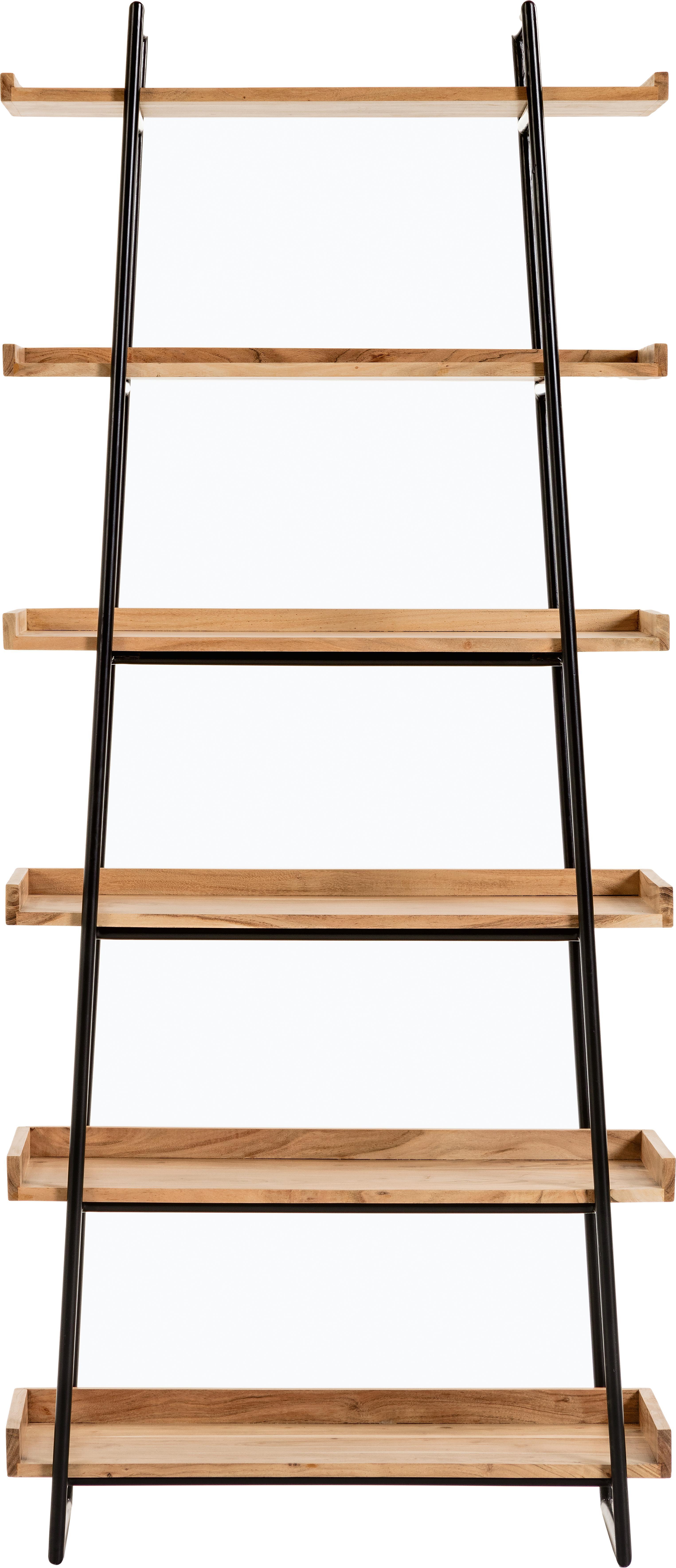 Standregal Basi aus Holz und Metall, Gestell: Metall, lackiert, Schwarz, Braun, 80 x 185 cm