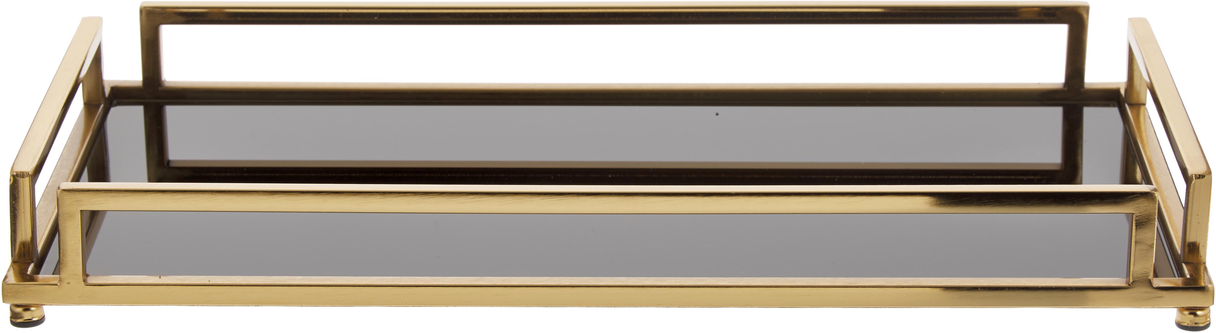 Vassoio decorativo Traika in oro con  mensola in nero, Struttura: metallo rivestito, Mensola: vetro, Ottonato, nero, Larg. 50 x Alt. 6 cm