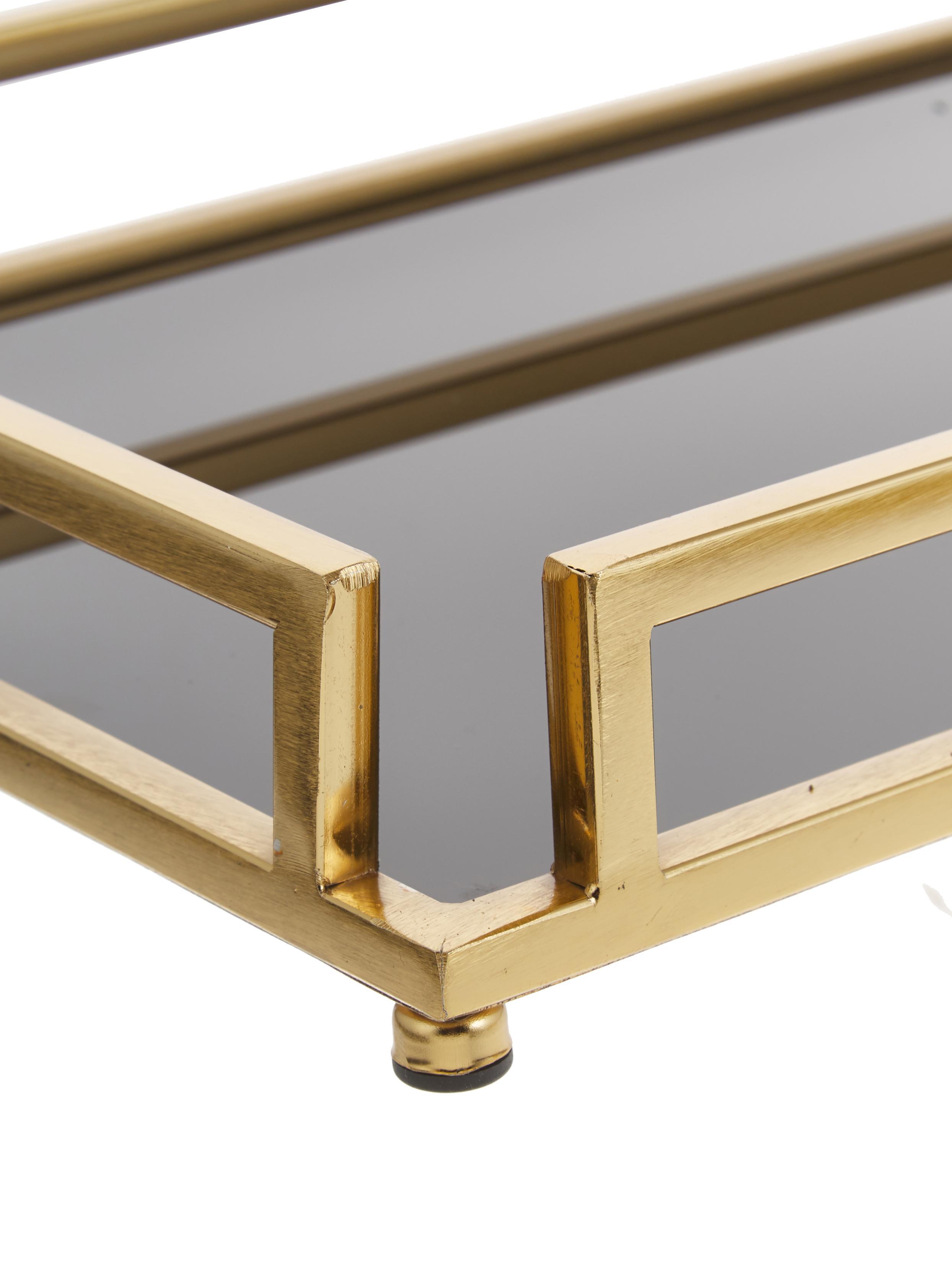 Deko-Tablett Traika in Gold mit schwarzer Ablagefläche, Rahmen: Metall, beschichtet, Ablagefläche: Glas, Messingfarben, Schwarz, 50 x 6 cm
