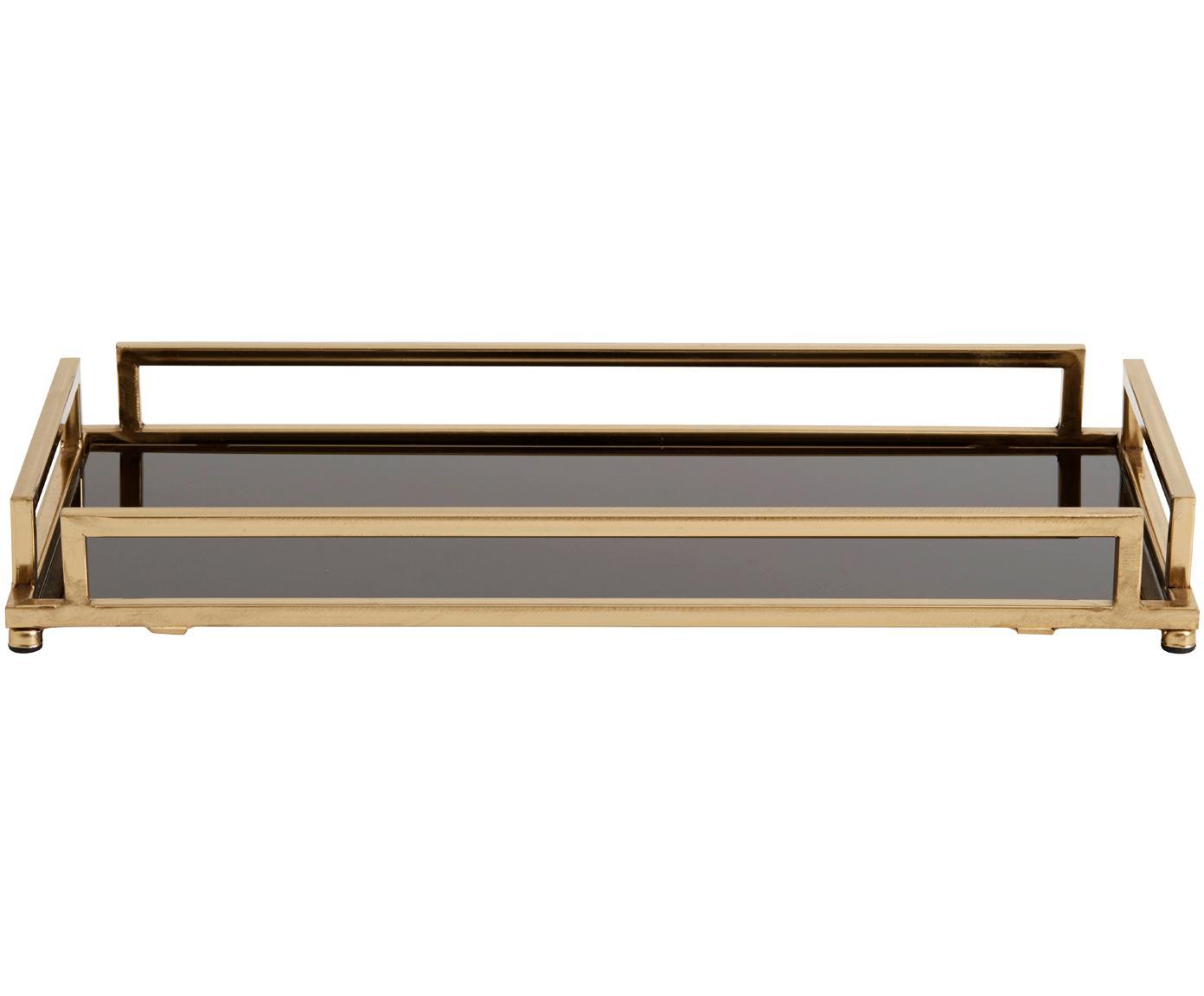Decoratief dienblad Traika goudkleurig met zwarte plank, Frame: gecoat metaal, Plank: glas, Messingkleurig, zwart, 50 x 6 cm