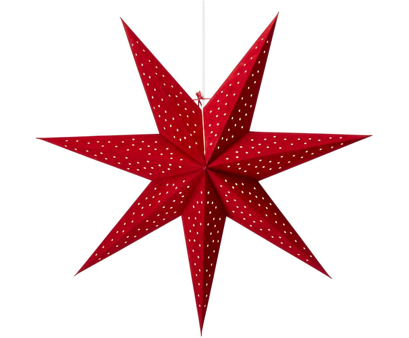 Estrella de Navidad de terciopelo Clara, Cable: plástico, Rojo, Ø 75 cm