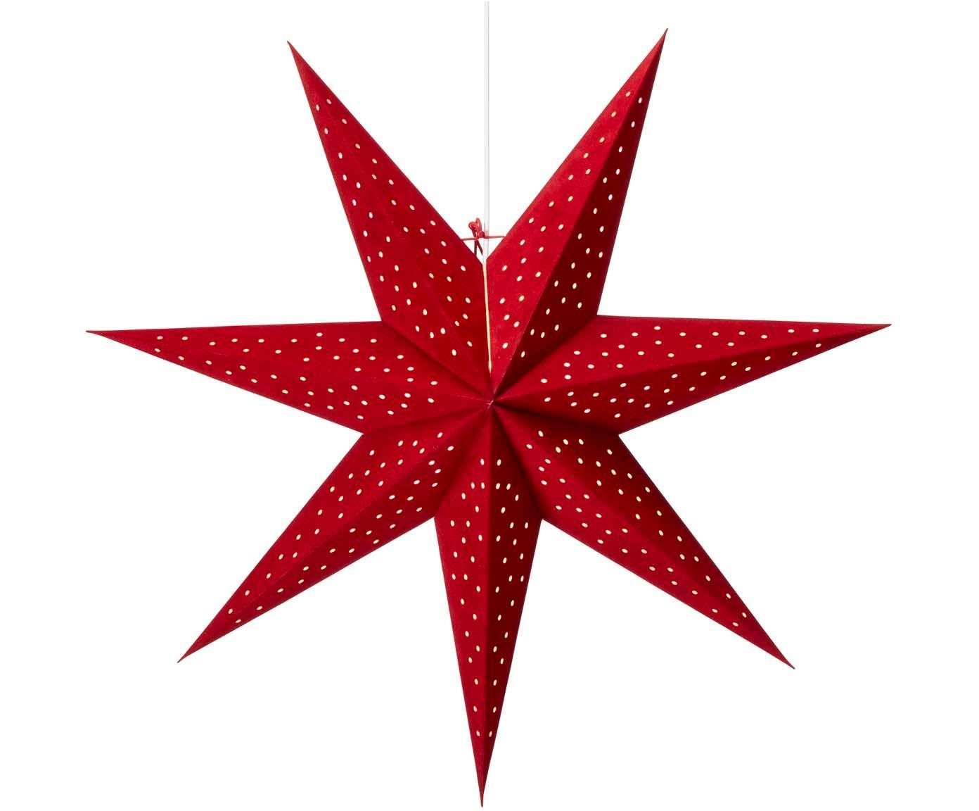 Fluwelen kerstster Clara, Rood, Ø 75 cm