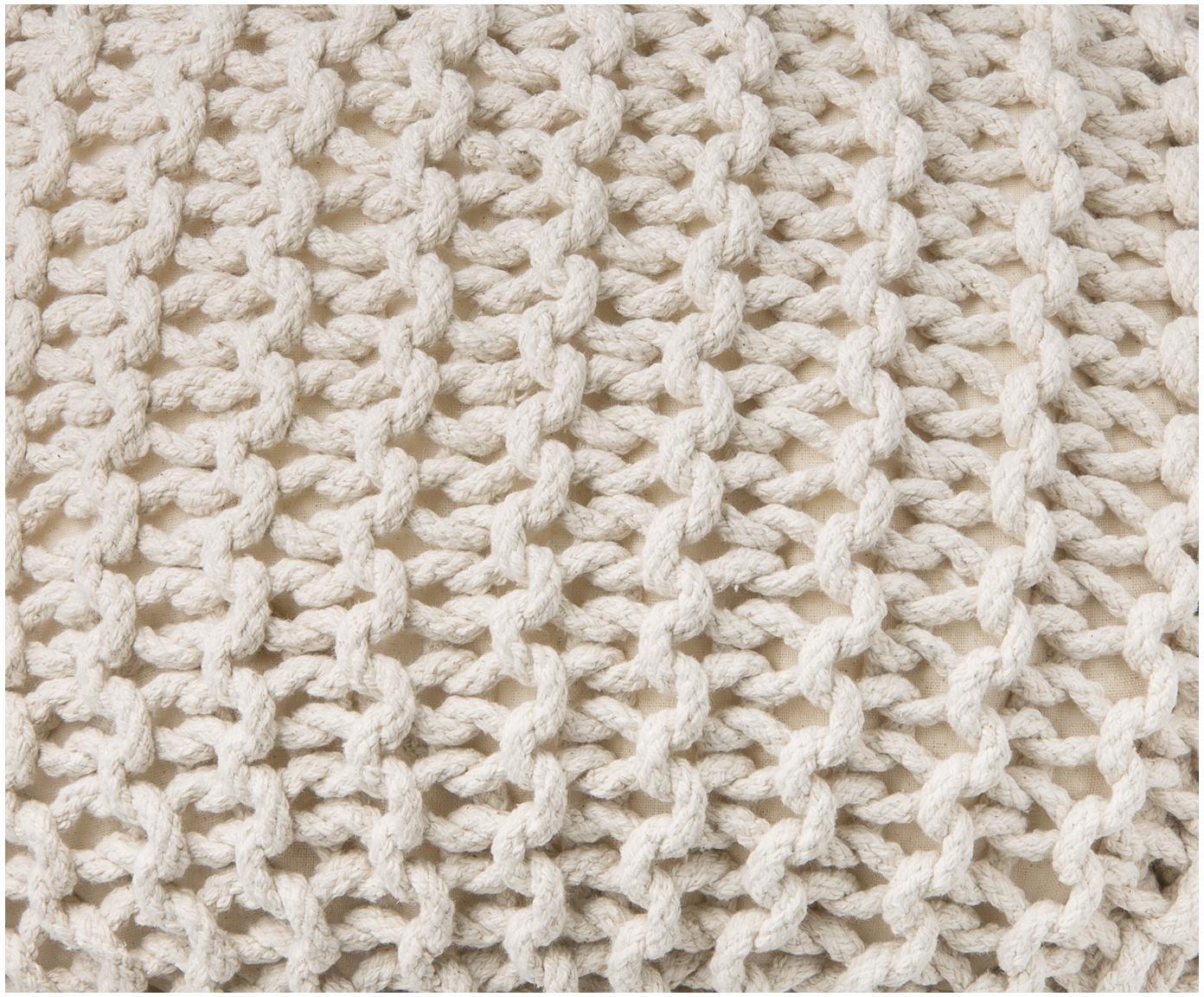 Puf de punto artesanal Dori, Tapizado: 100%algodón, Crema, Ø 55 x Al 35 cm