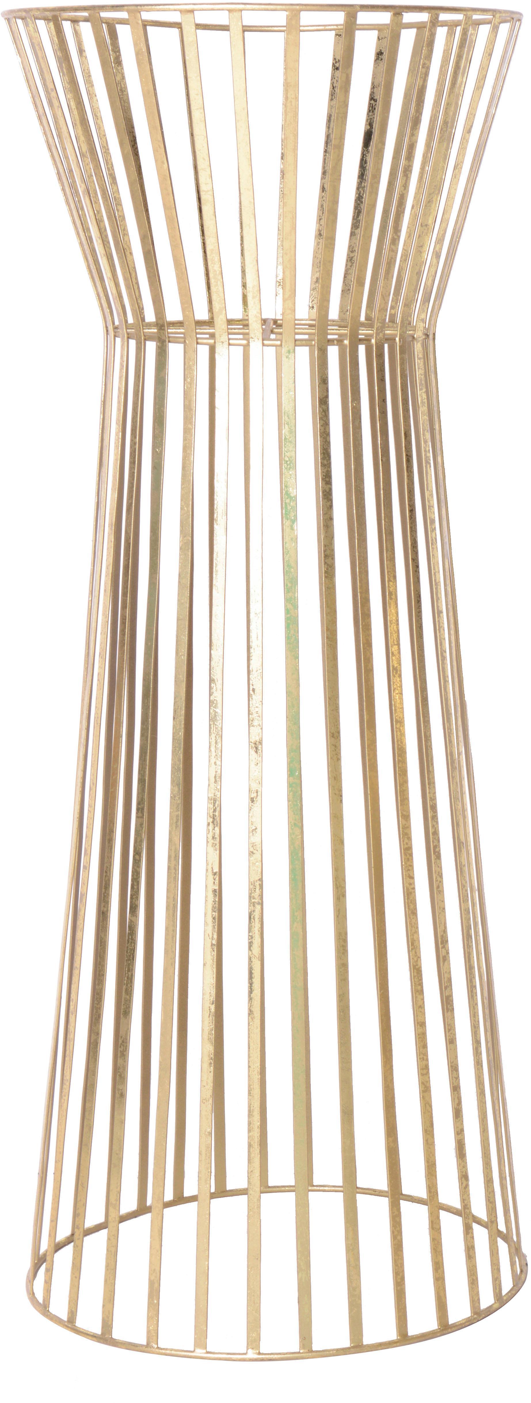 VL plantenpotstaander Gold van metaal, Gecoat metaal, Messingkleurig, Ø 34 x H 86 cm