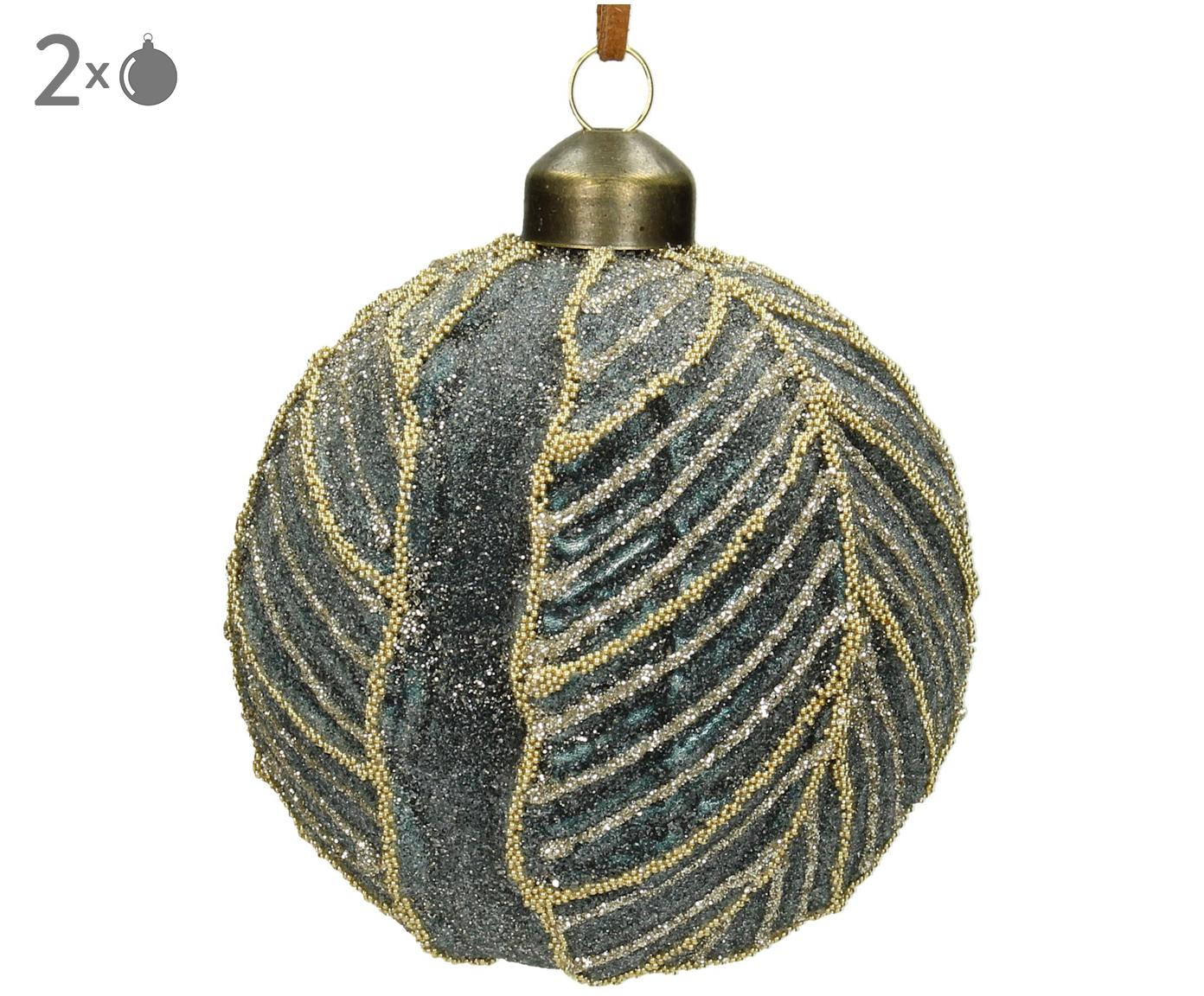 Palla di Natale Leaf 2 pz, Vetro, poliestere, materiale sintetico, Grigio blu, Ø 8 cm
