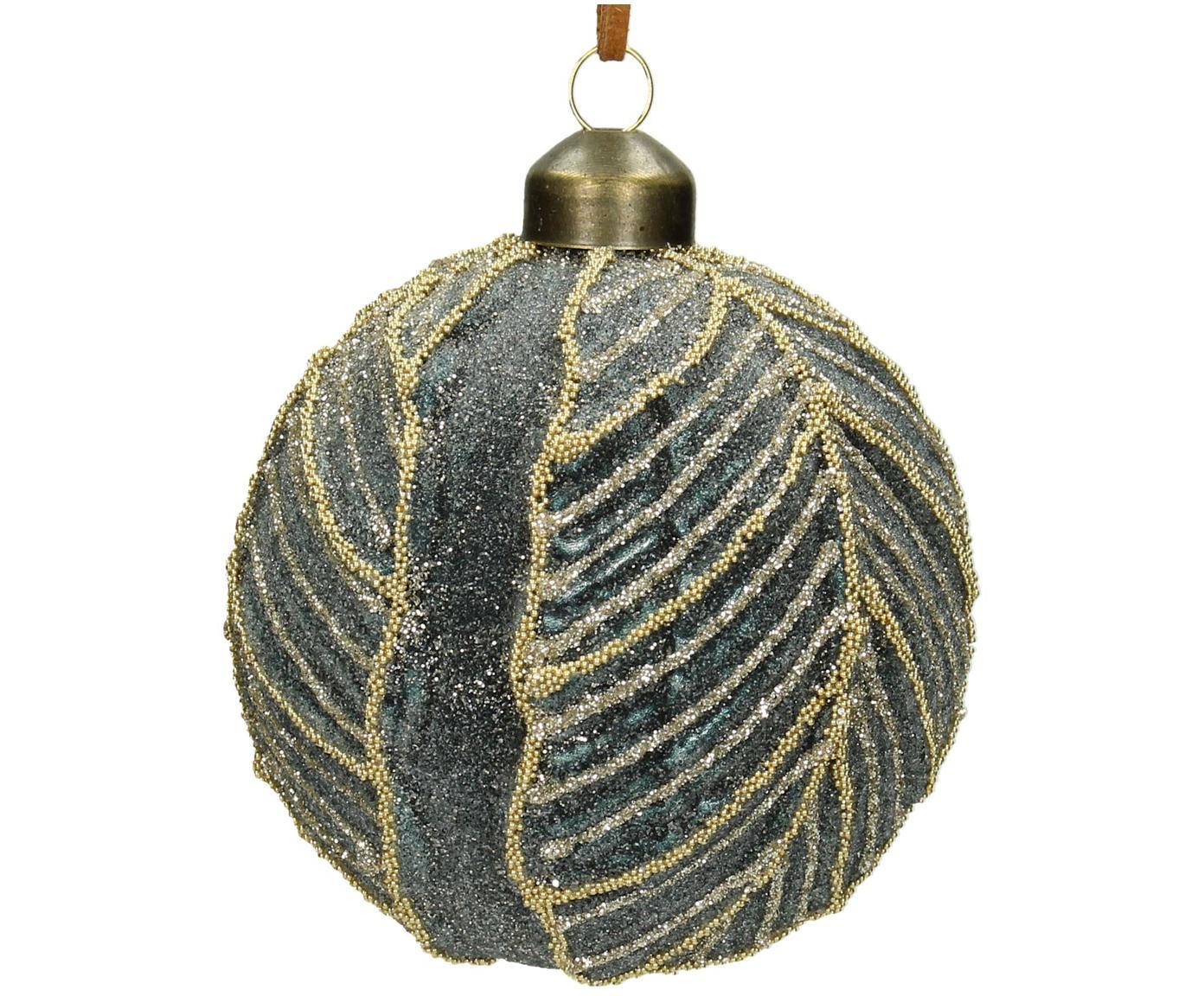 Kerstballen Leaf, 2 stuks, Glas, polyester, kunststof, Grijsblauw, Ø 8 cm