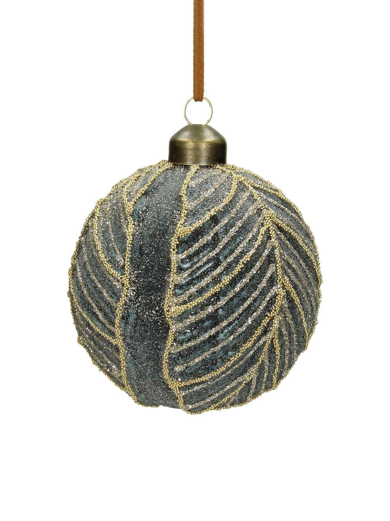 Weihnachtskugeln Leaf Ø8cm, 2Stück, Glas, Polyester, Kunststoff, Graublau, Ø 8 cm